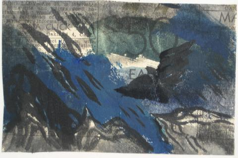 Mixed Media Abstract on Newsprint<br>1946<br><br>#3429