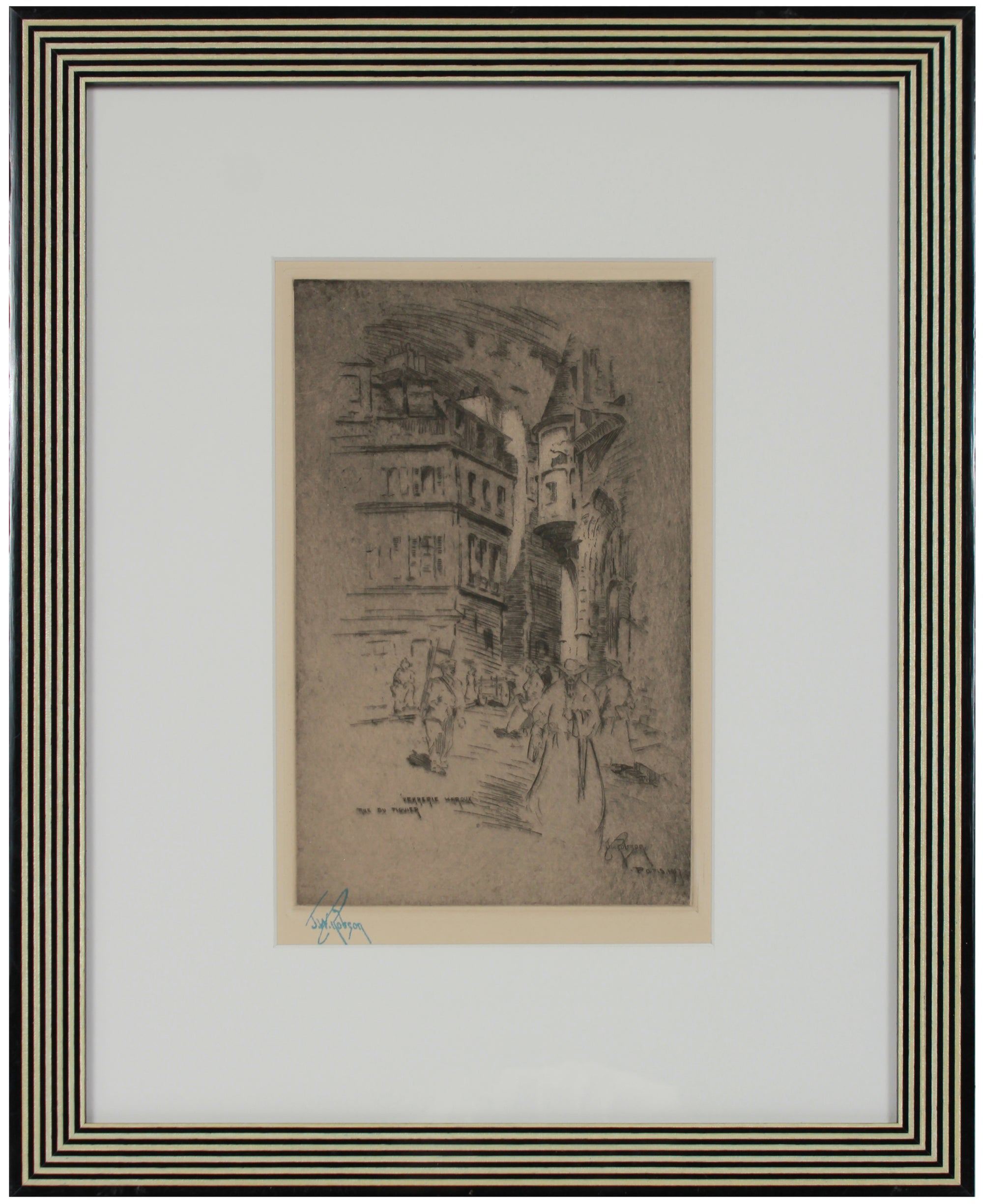 Parisian Scene <br>1907 Etching <br><br>#4999