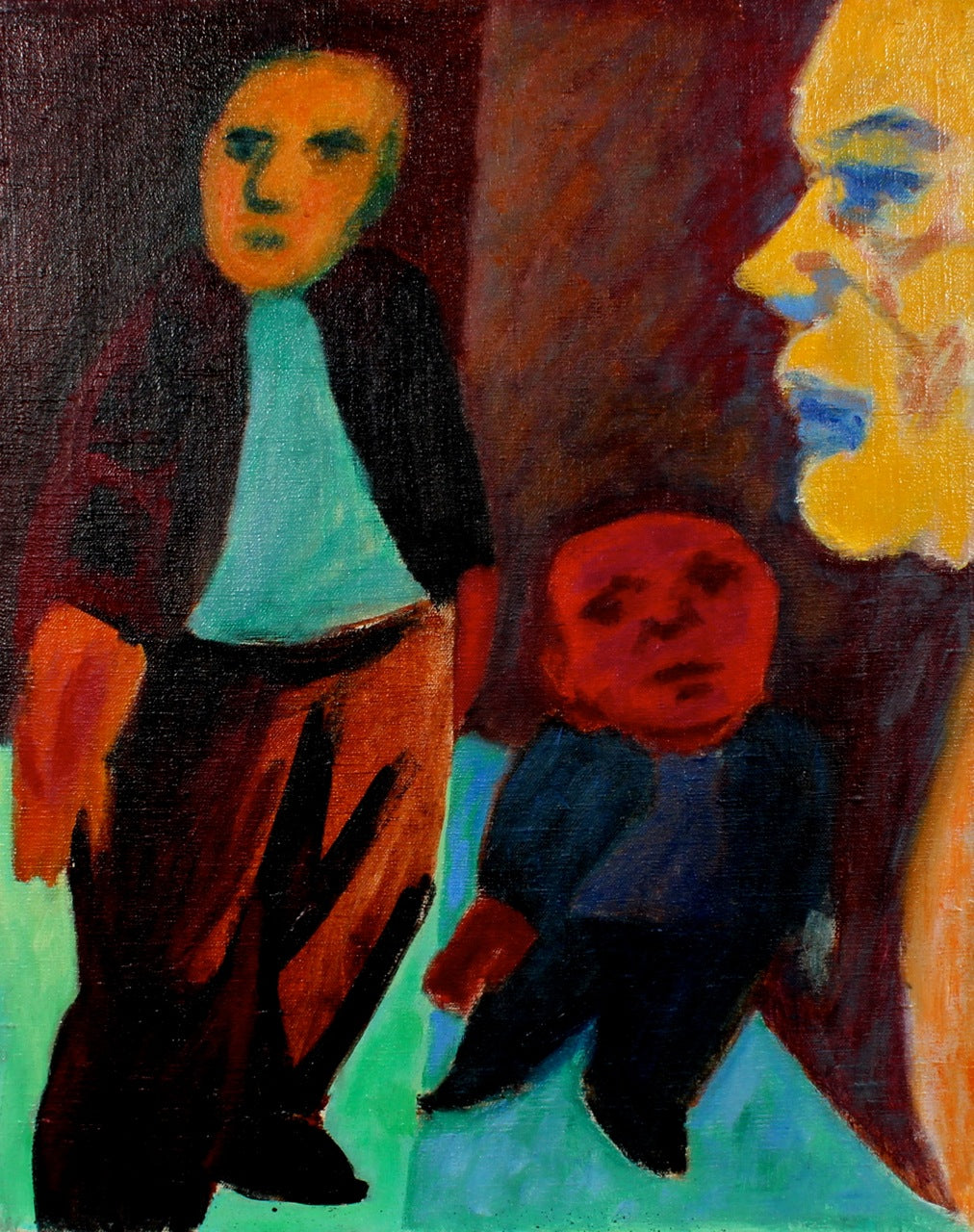 Surreal Mid-Century Figures <br>Late 1940s Oil <br><br>#50217