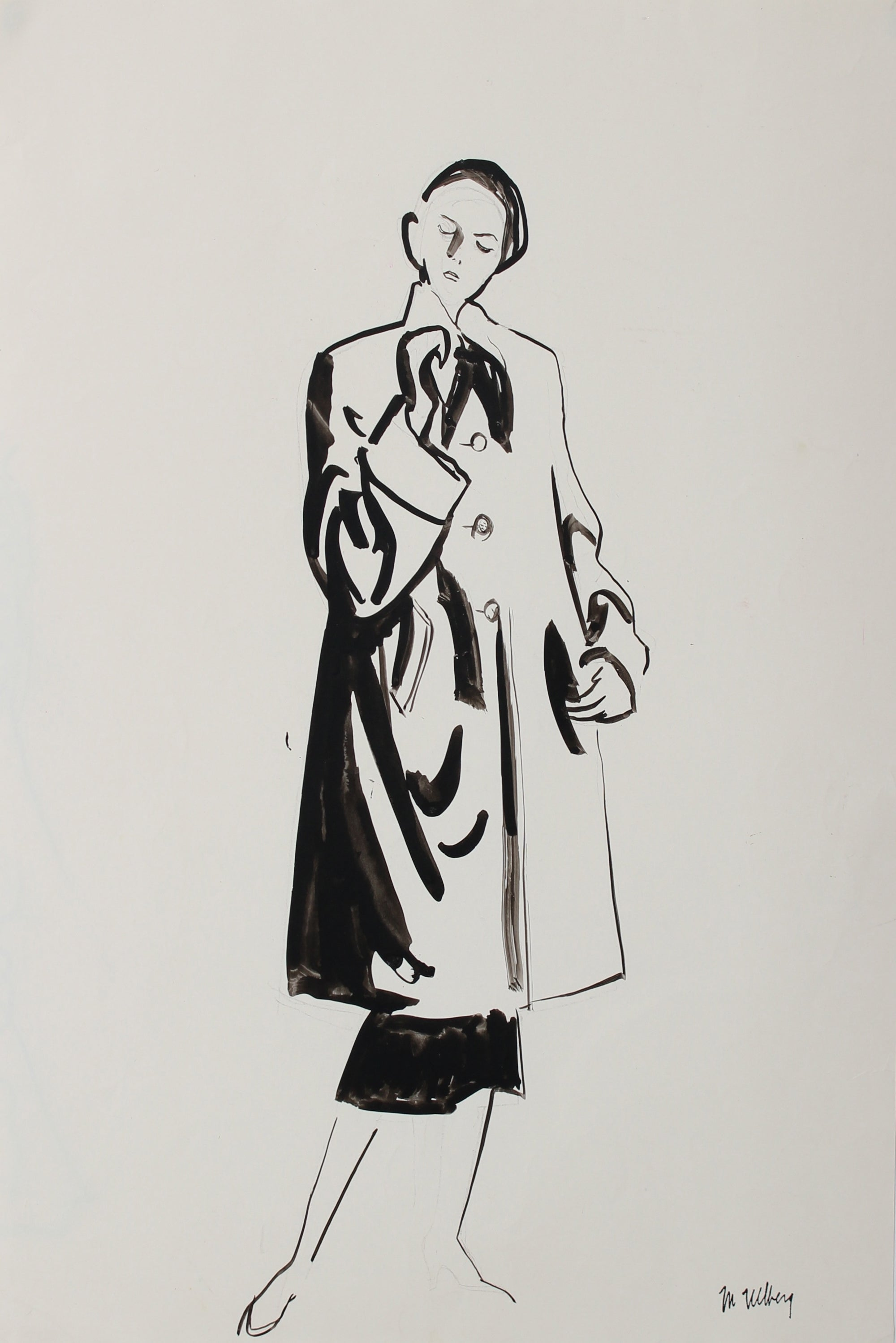 Elegant Coat - Fashion Illustration<br>Ink, 1946-54<br><br>#5203