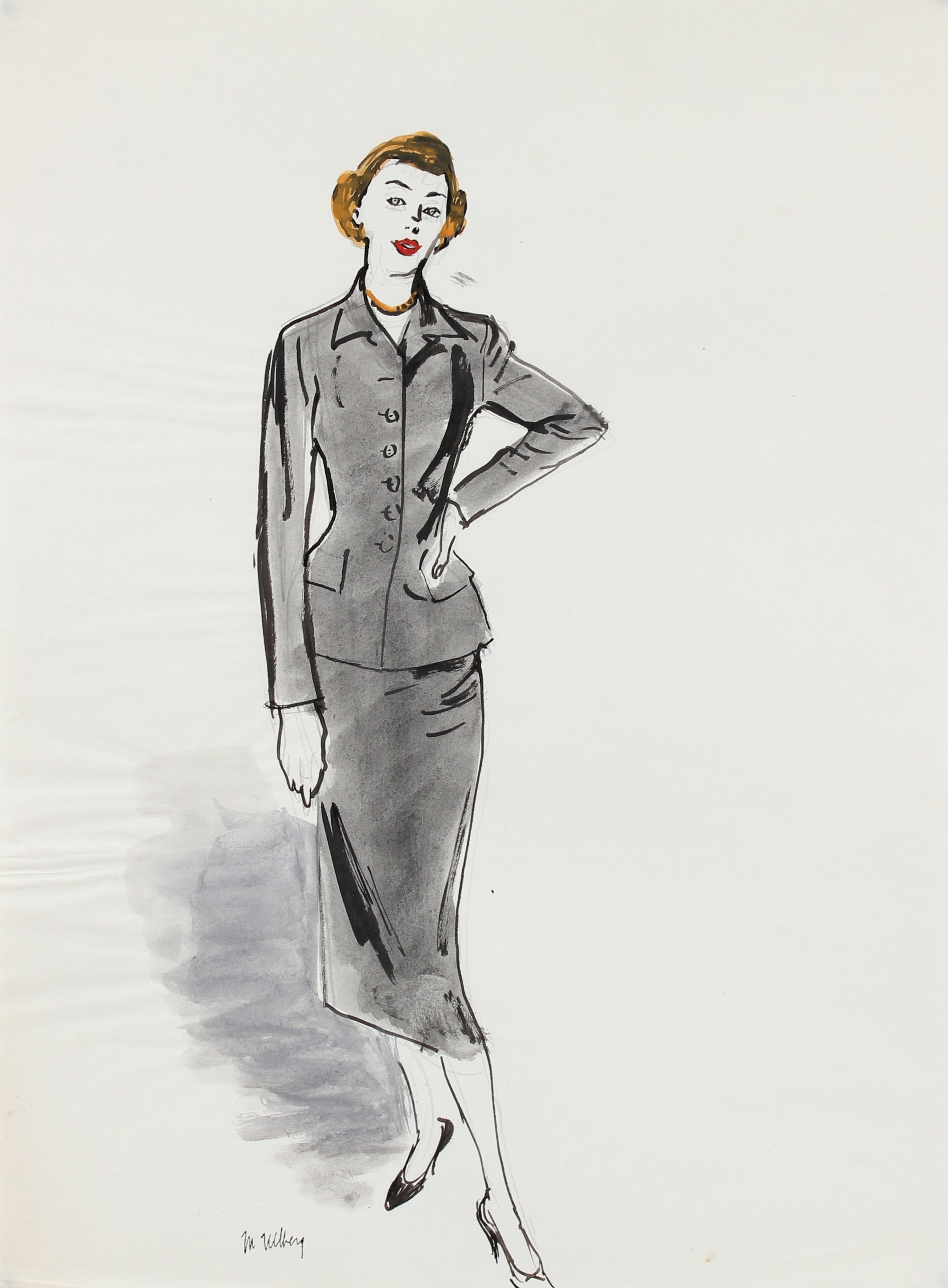 Gray Ladies Suit<br>Mixed Media, 1946-54<br><br>#5208
