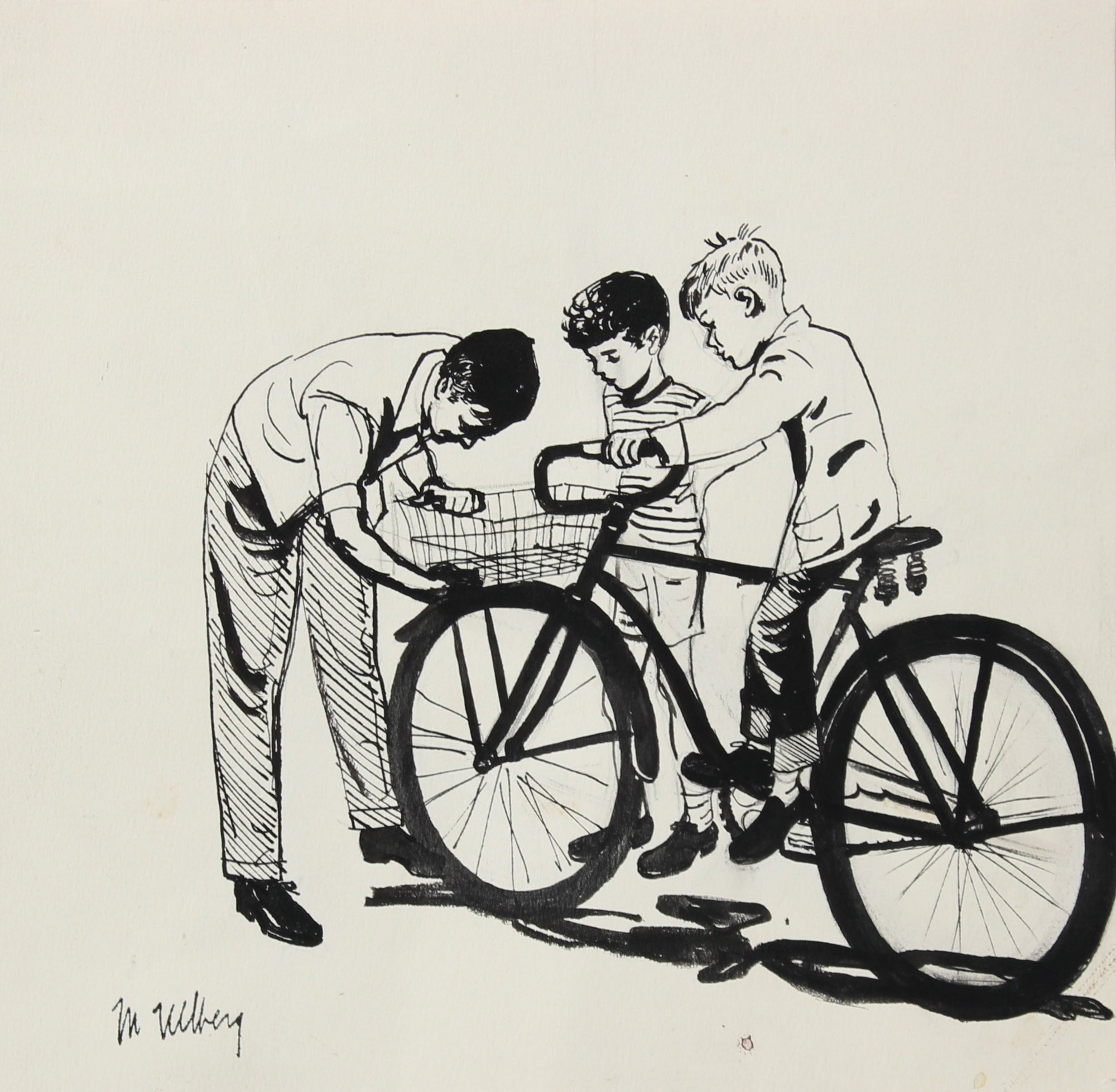 Monochromatic Boys with a Bike<br>Ink, 1946-54<br><br>#5214