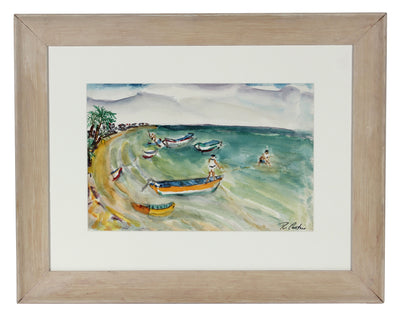 Swimmers At The Beach<br>Mid Century Watercolor<br><br>#5364