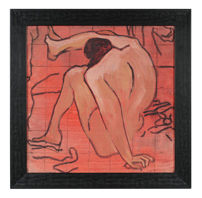 Modernist Figure Drawing Nude <br>Mid-Late 20th Century Oil <br><br>#56540