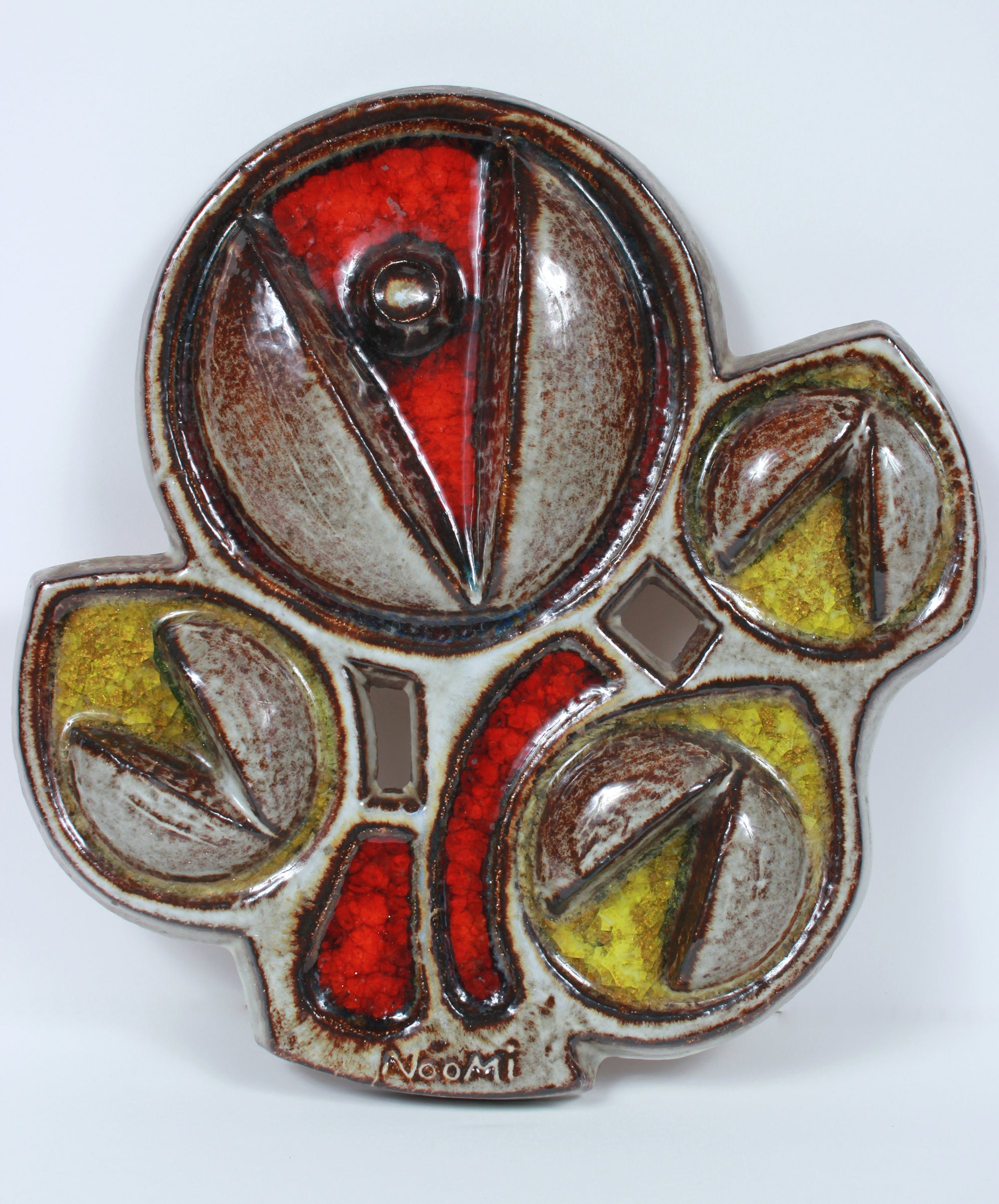 Abstracted Floral Sculpture <br>Mid Century Ceramic & Enamel <br><br>#5955