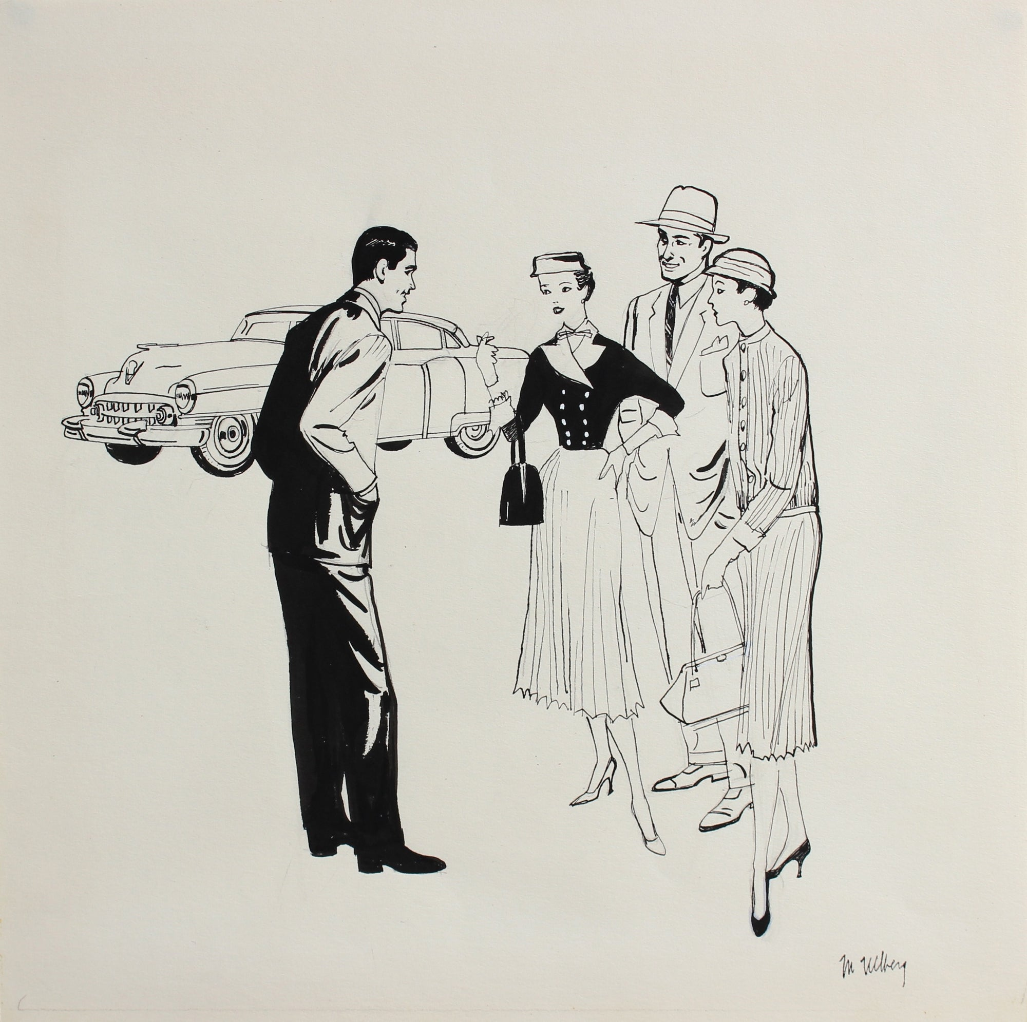 Two Couples and a Car<br>1946-54 Ink on Paper<br><br>#5968