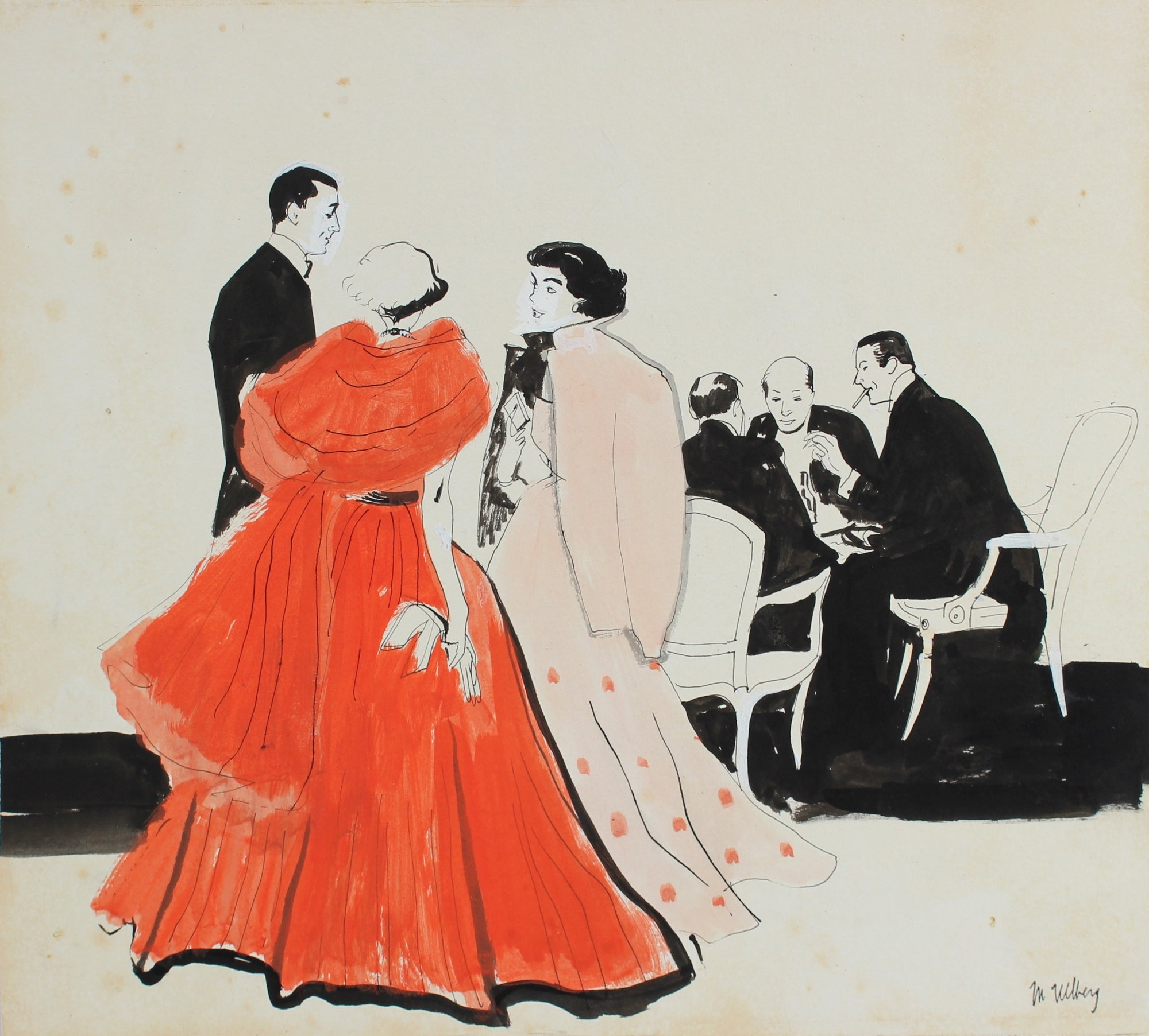 Elegant Woman in Red, Party Scene<br>Ink & Gouache, 1946-54<br><br>#5971