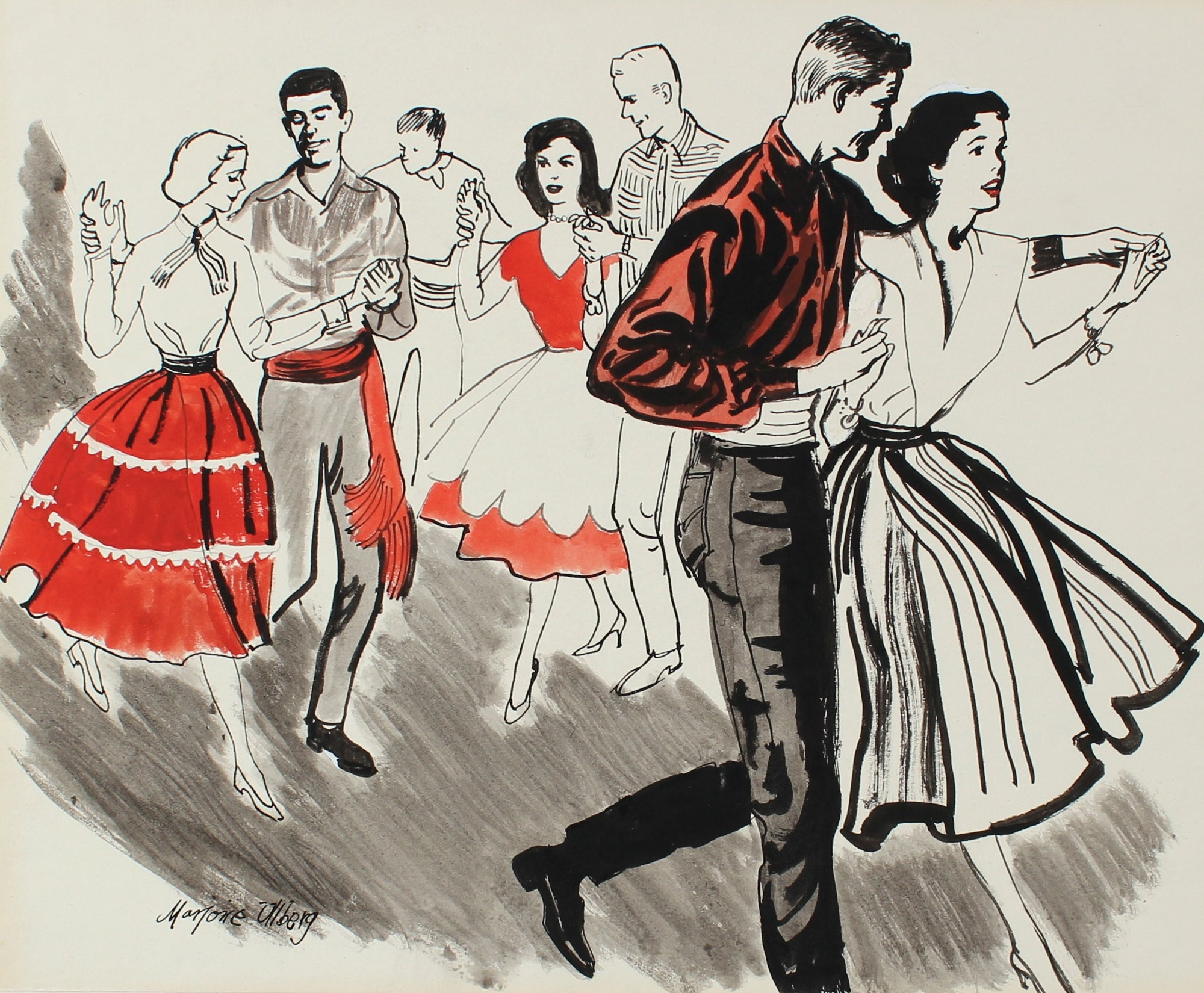 Dancing Couples<br>Ink & Gouache, 1946-54<br><br>#5973