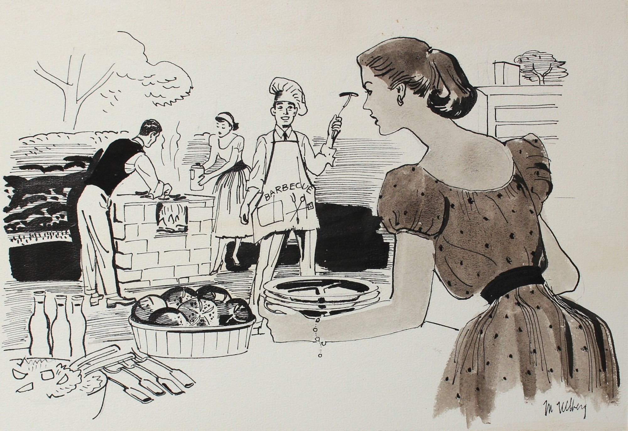Summertime Barbeque<br>Ink, 1946-54<br><br>#5976
