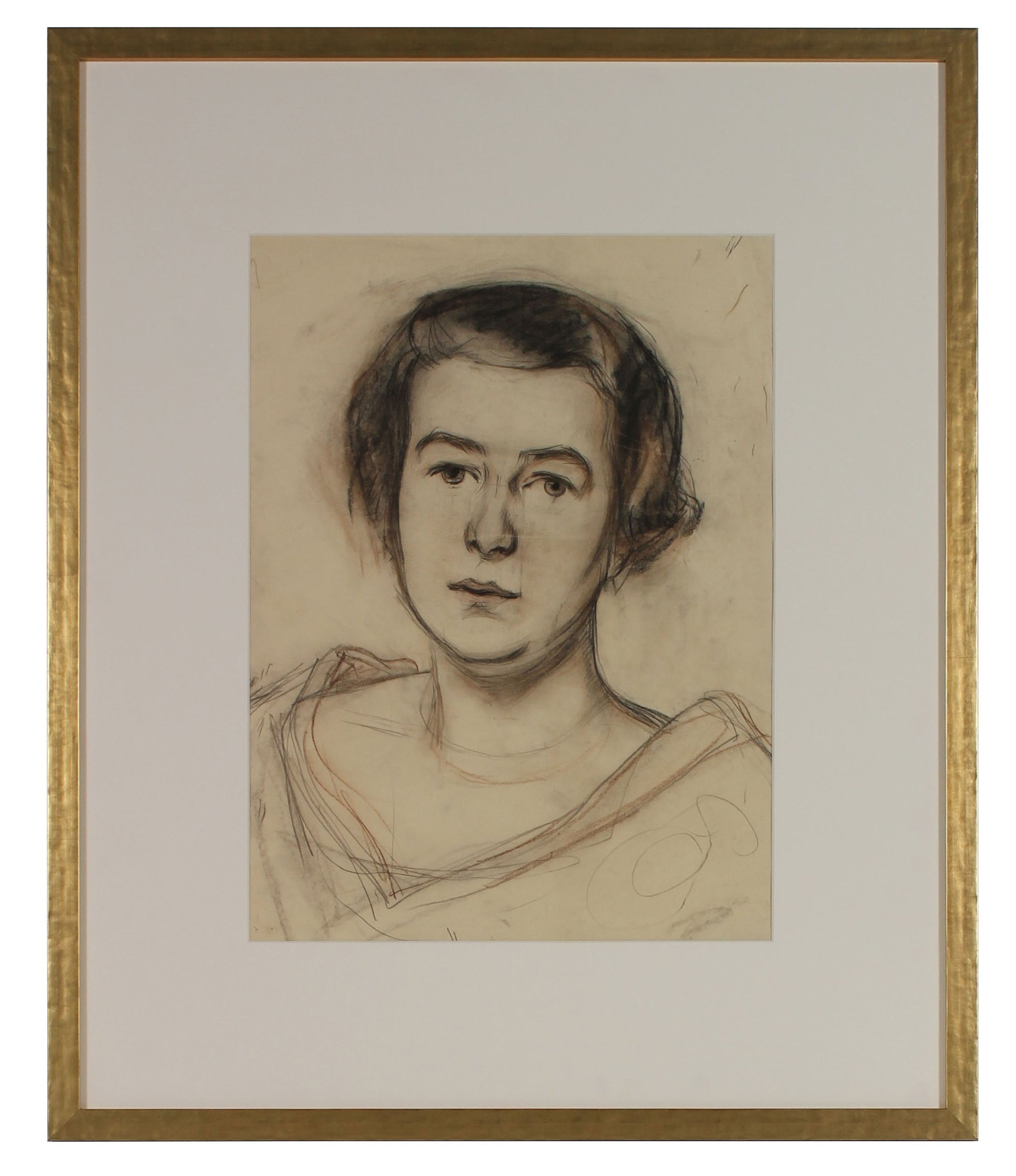 Regal Portrait of a Woman <br>1926 Charcoal & Pastel <br><br>#60094