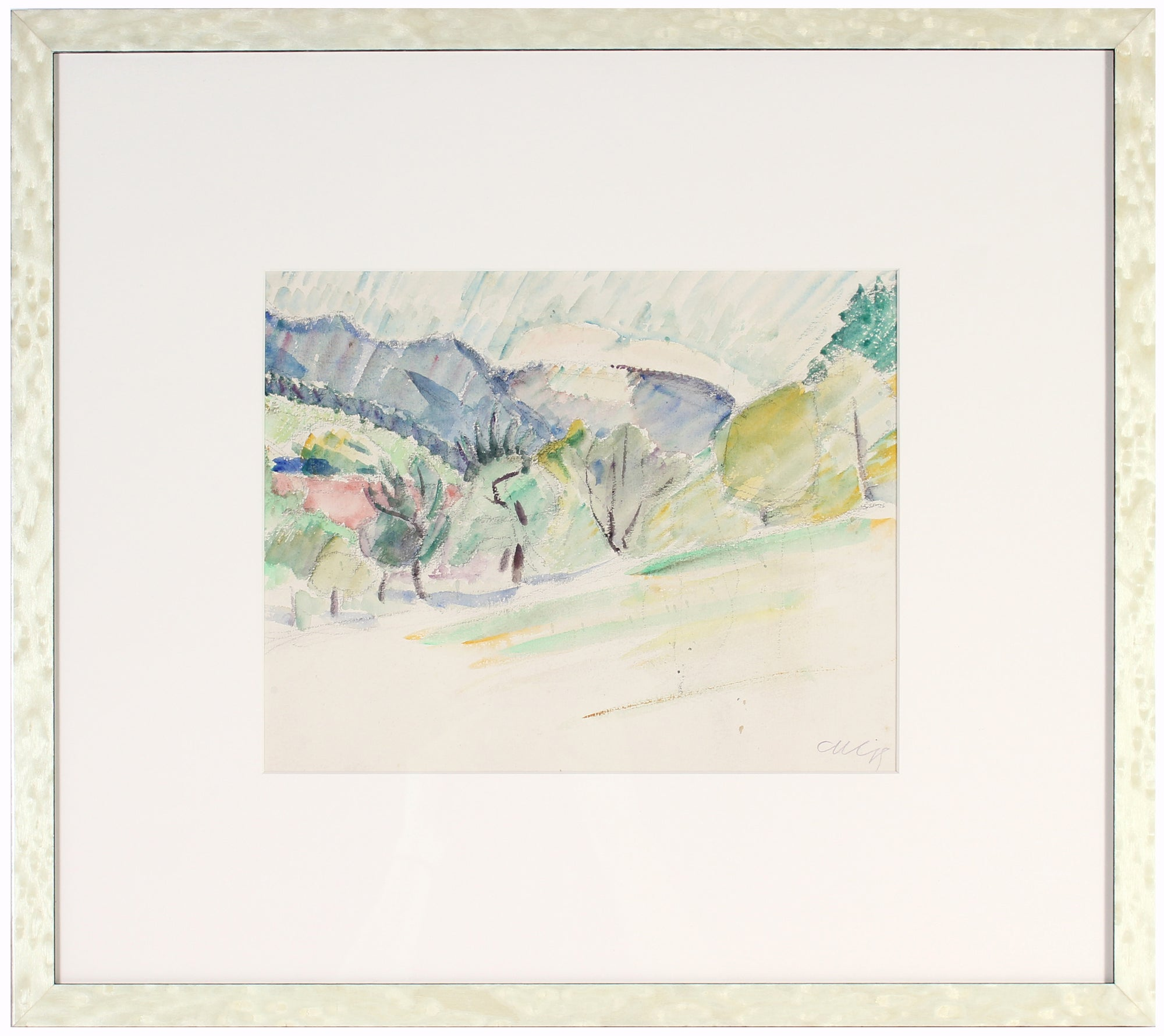 <i>Landscape</i> <br>Early 20th Century Watercolor & Charcoal <br><br>#60097