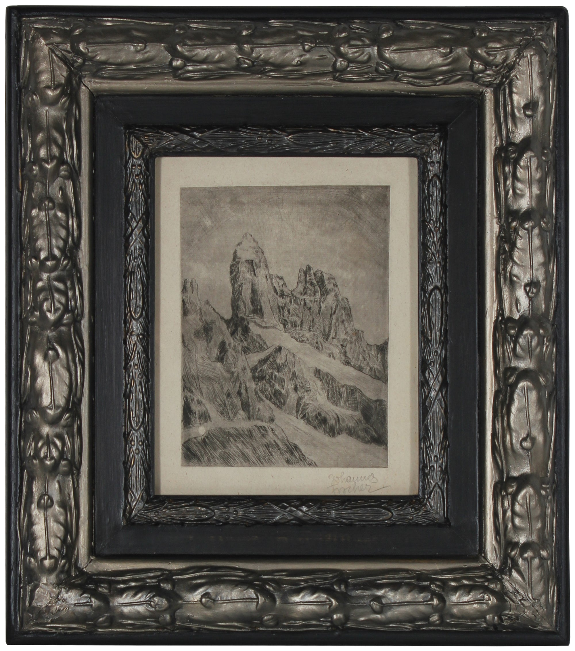 <i>Austrian Secessionist Landscape</i><br>1920s Etching<br><br>#71194