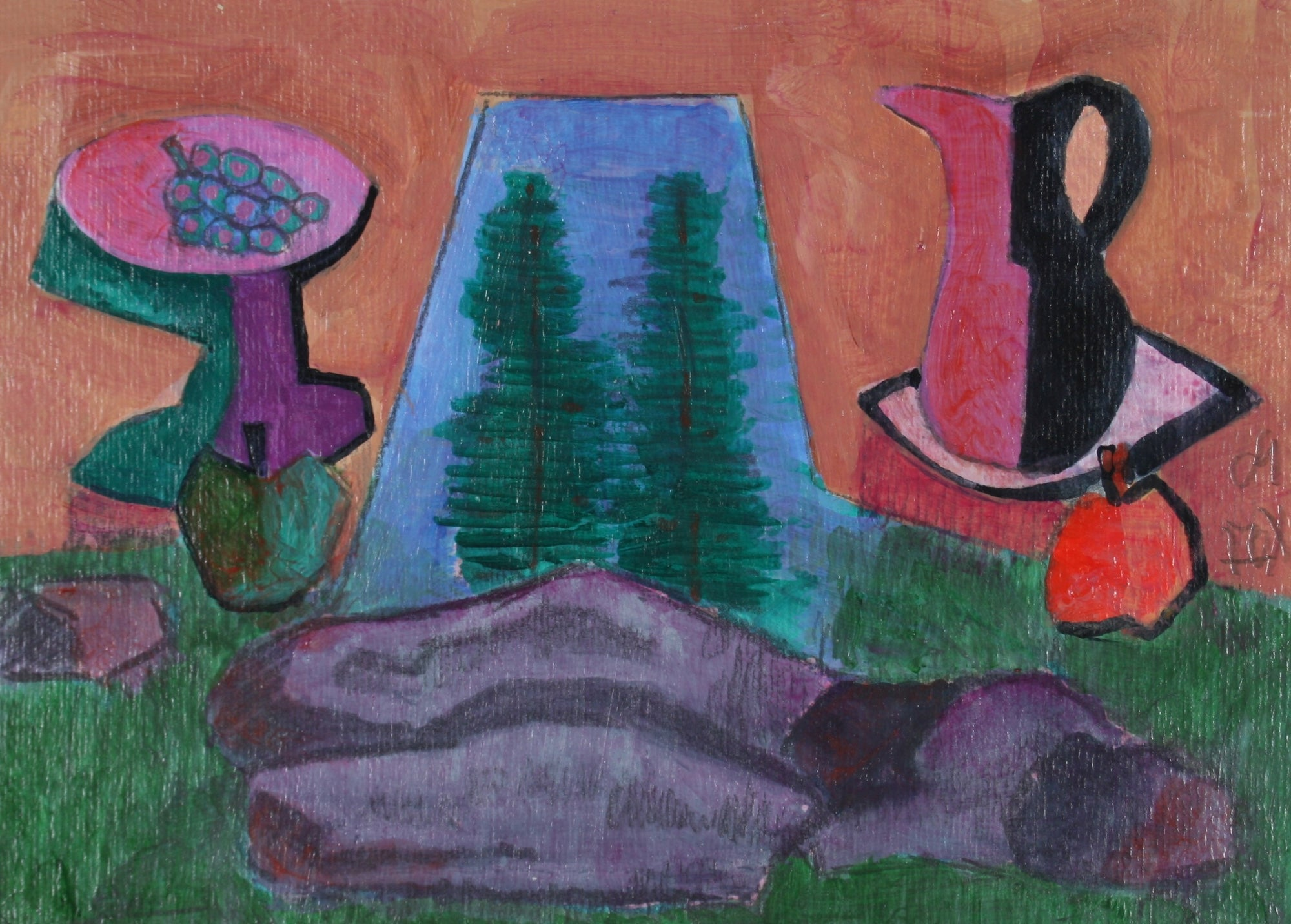 <i>Picnic by Rock</i><br>2009 Acrylic Scene<br><br>#71265