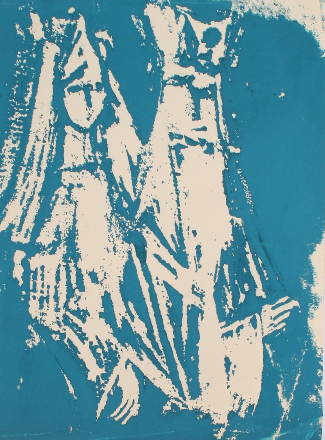 Abstracted Figures in Blue<br>Late Century Serigraph<br><br>#71349