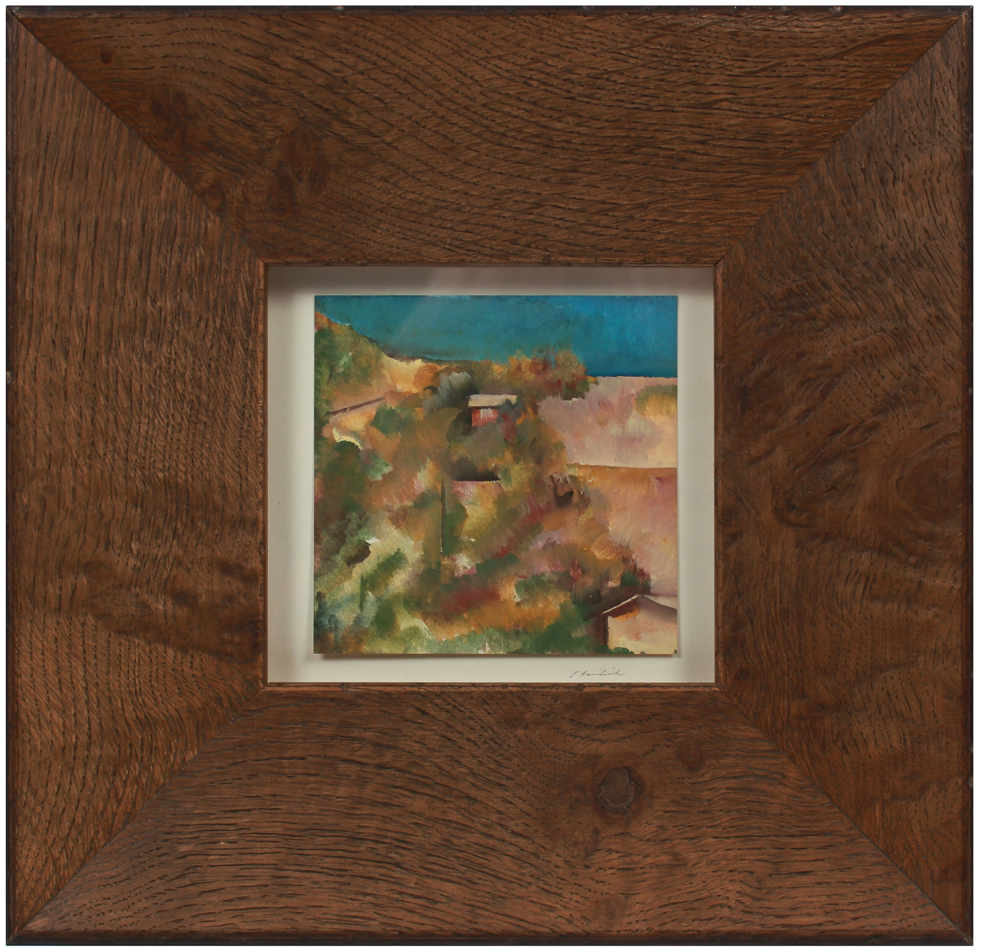 Abstracted Square Landscape <br>Late 20th Century Oil <br><br>#71473