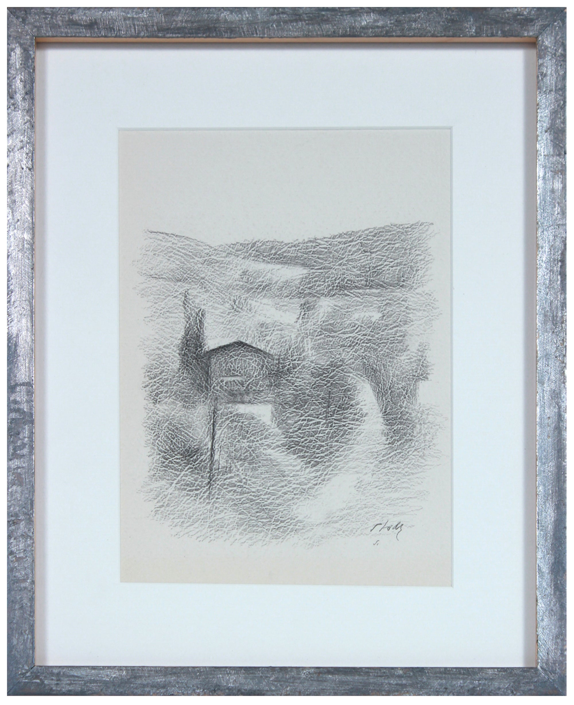 Hillside Landscape with House <br>Late 20th Century Graphite <br><br>#71514