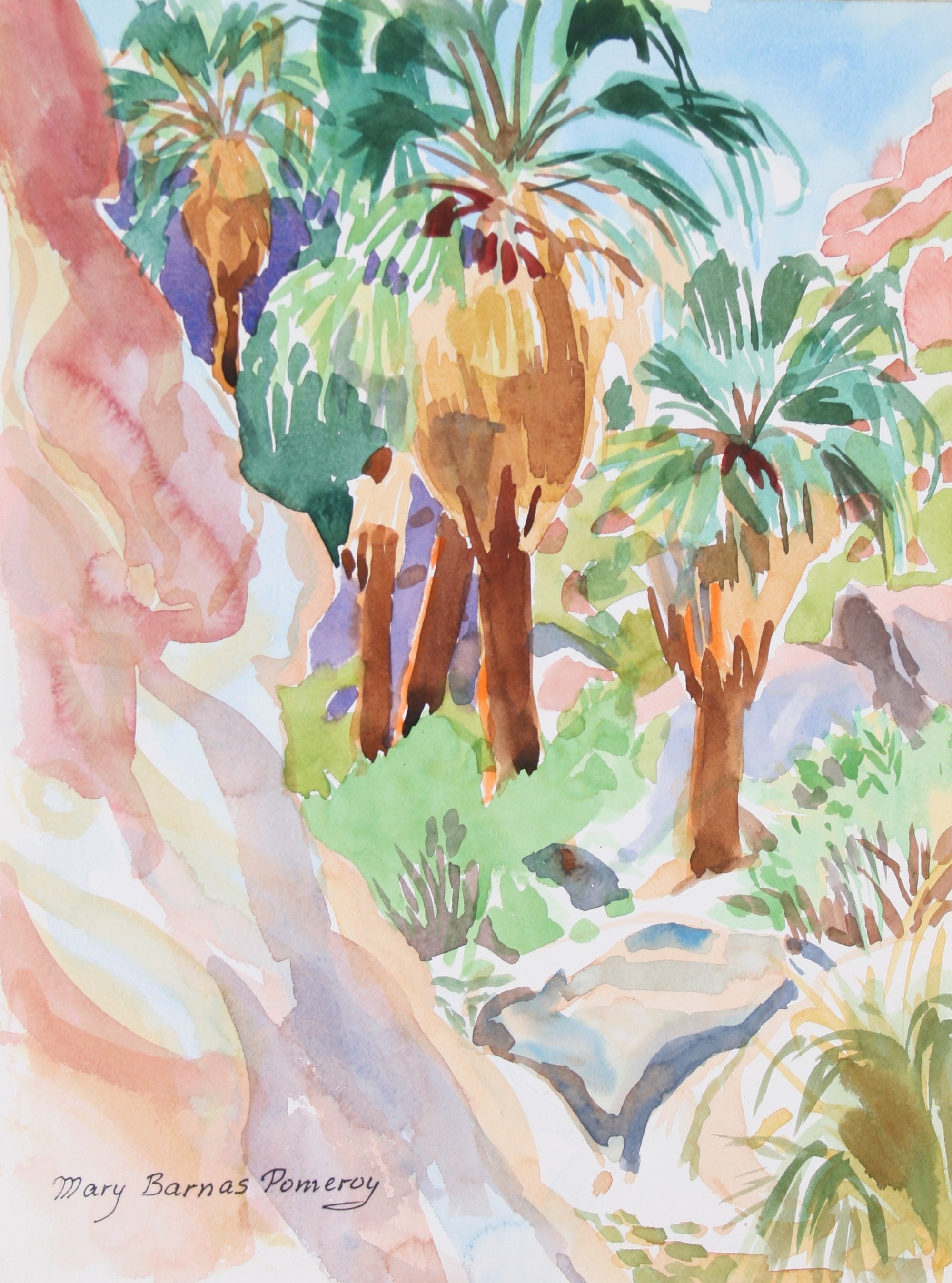 <i> Looking Up Palm Canyon </i> <br> April 1982 Watercolor<br><br>#72022