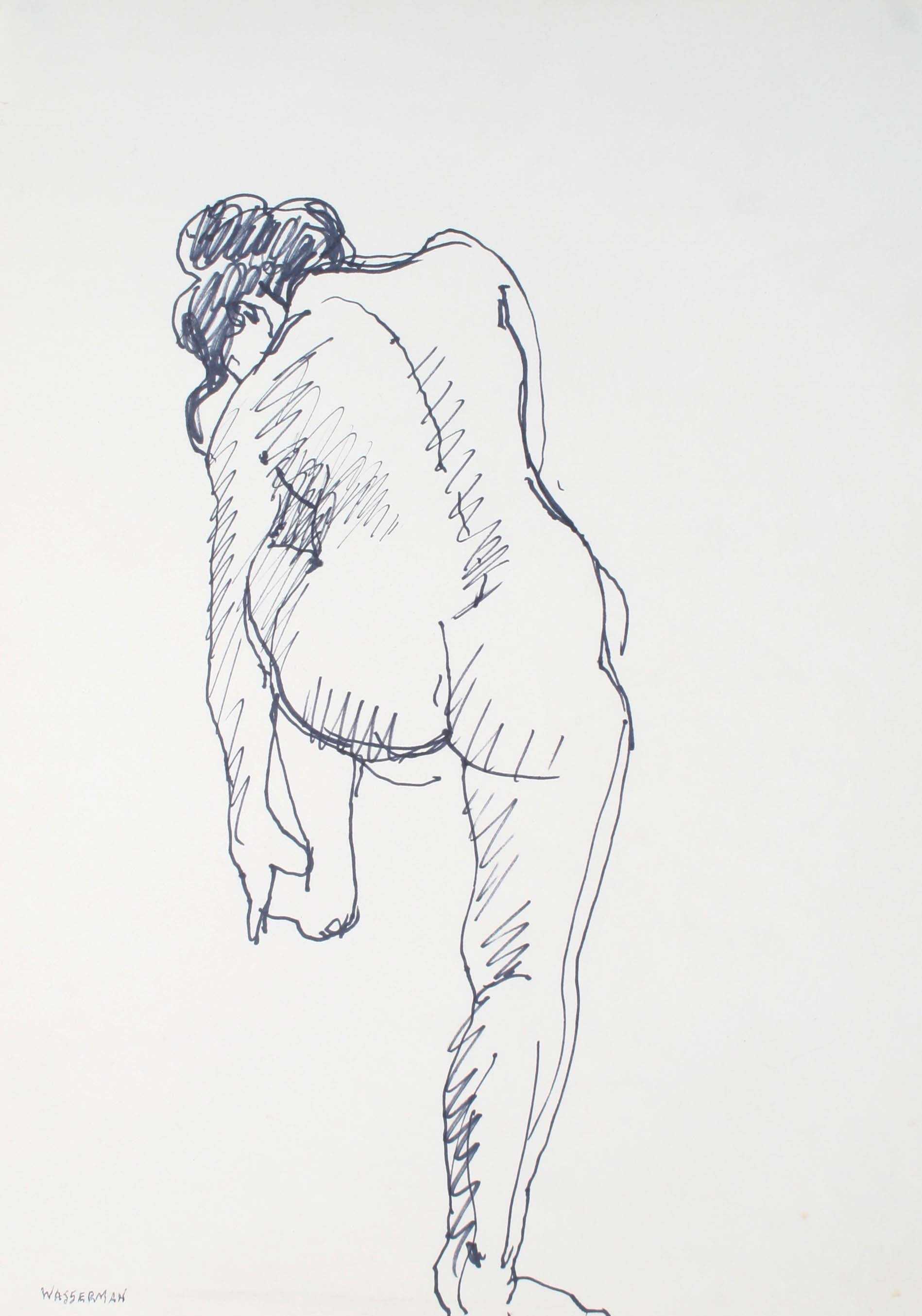 Crouched Female Nude<br>Mid-Late 20th Century Ink on Paper<br><br>#72093
