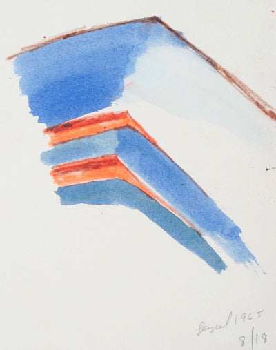 Blue and Orange Abstract Hills<br>1965 Watercolor and Pastel<br><br>#72099