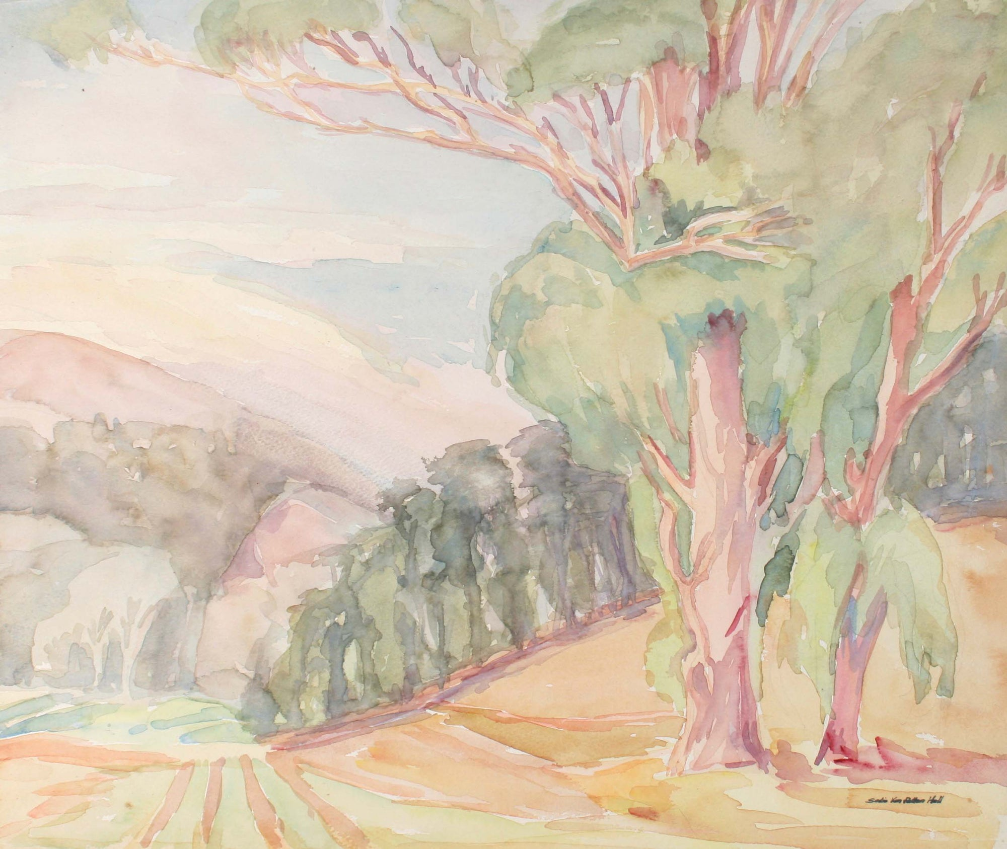 California Landscape with Trees<br>Mid Century Watercolor<br><br>#72104