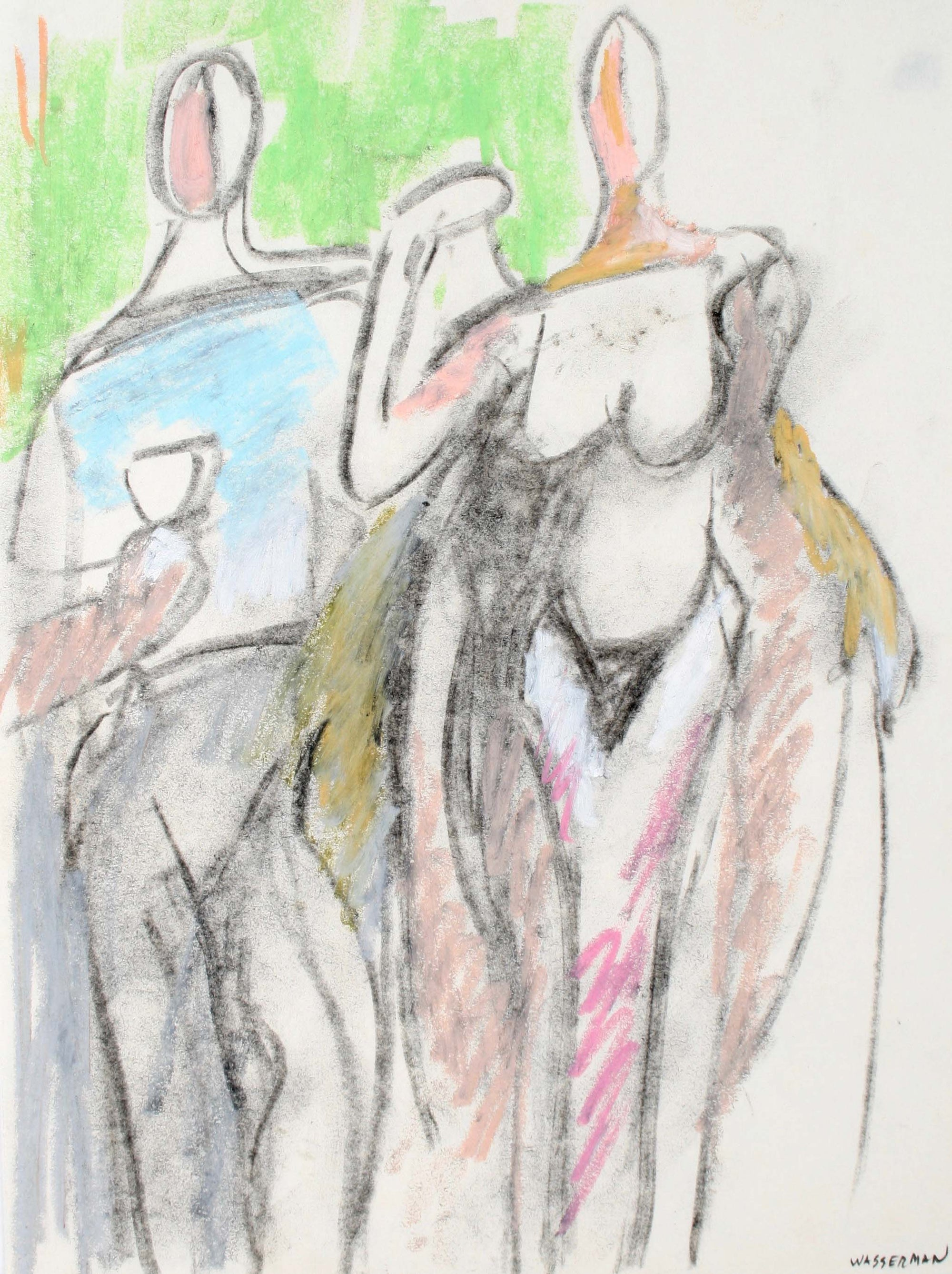 Modernist Abstracted Figures<br>Mid-Late 20th Century Pastel and Charcoal<br><br>#72107