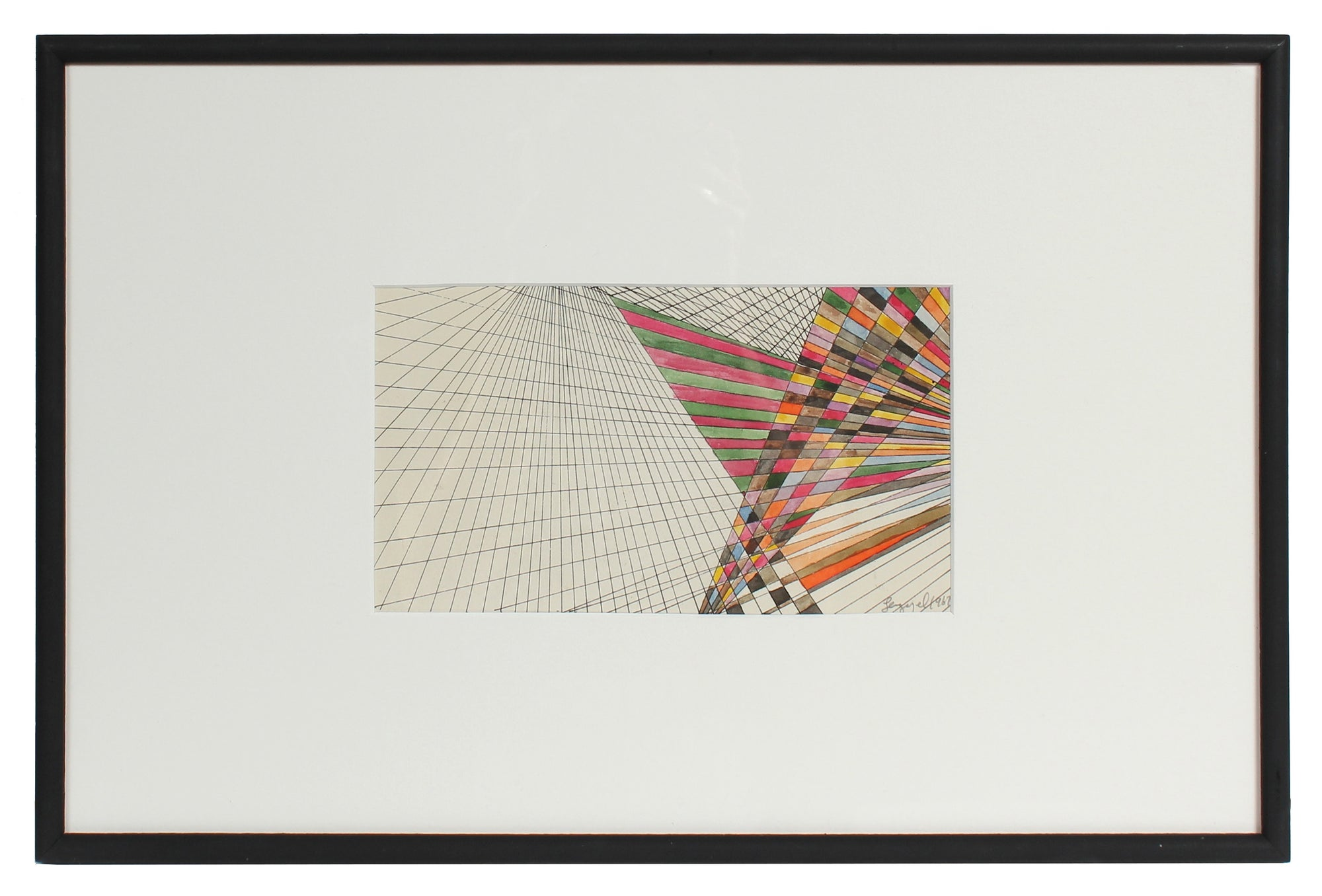 Color Study on a Warping Grid <br>1967 Ink & Watercolor <br><br>#72109