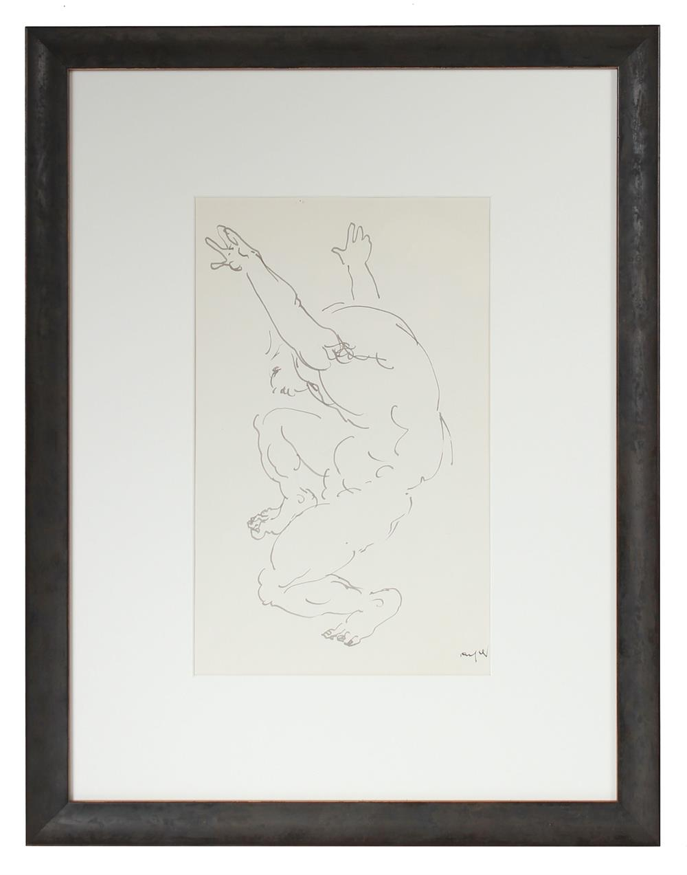 Dancing Nude Figure<br>Mid-Late 20th Century Ink<br><br>#72122
