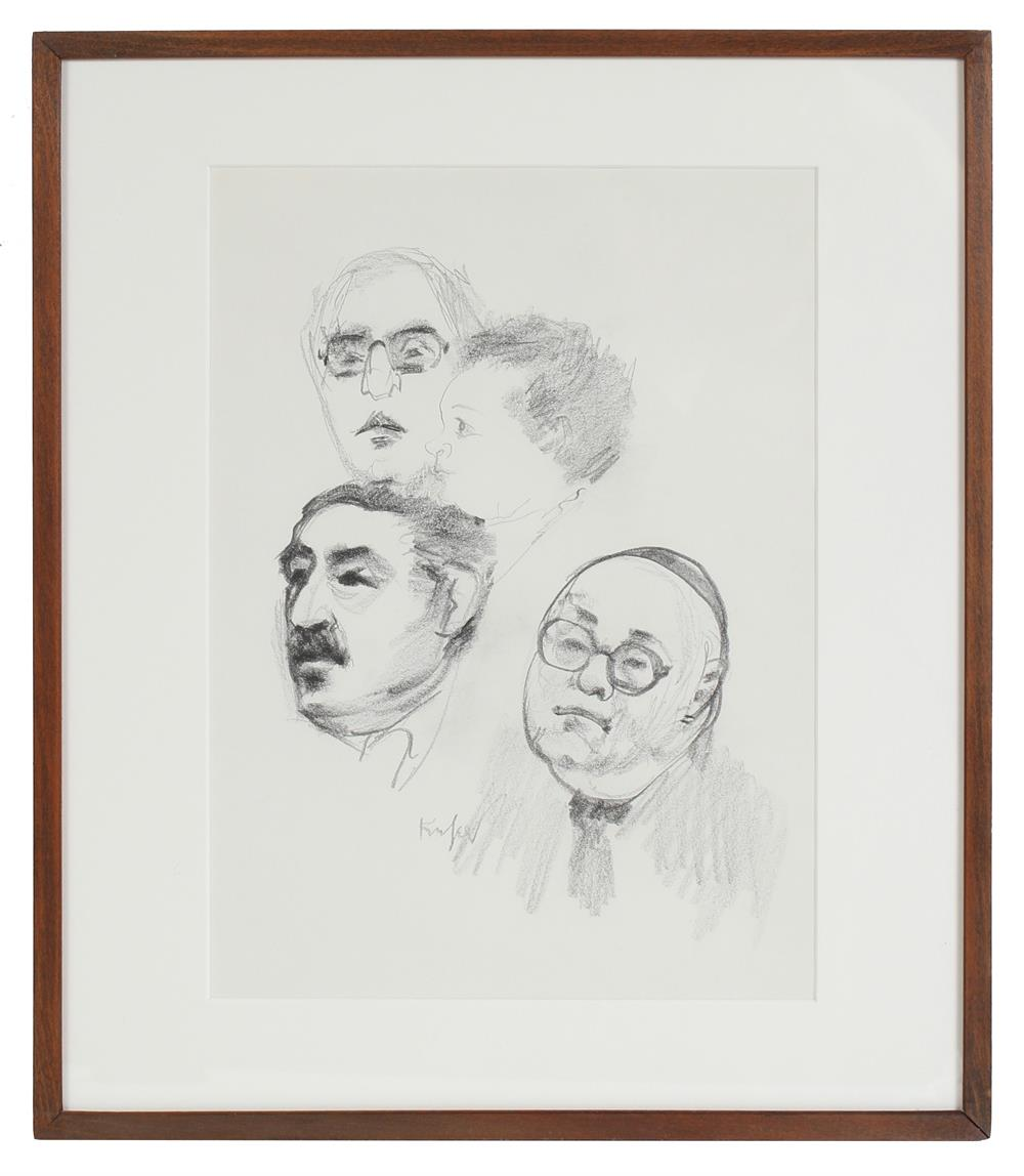 Modernist Portrait Studies<br>Mid-Late 20th Century Graphite<br><br>#72131