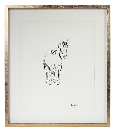 Calligraphic Modernist Horse<br>1970-80s Ink<br><br>#72135