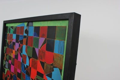 Neon Grid Optical Art <br>1970s Acrylic <br><br>#7383