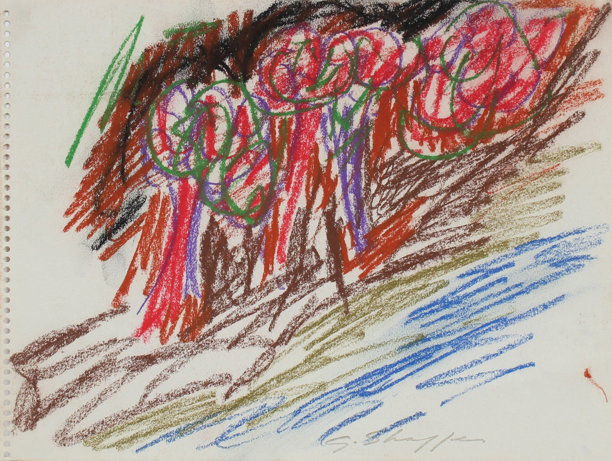 Colorful Abstract Drawing of Trees<br>1962 Pastel <br><br>#8164