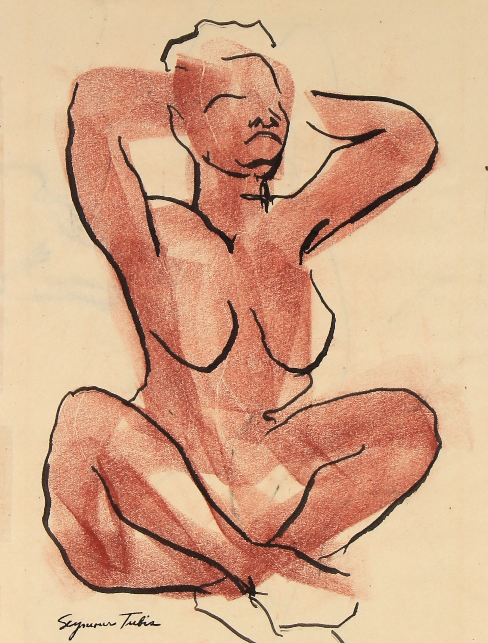Expressionist Nude Figure Drawing<br>Mid-Late 20th Century Ink and Pastel <br><br>#81959