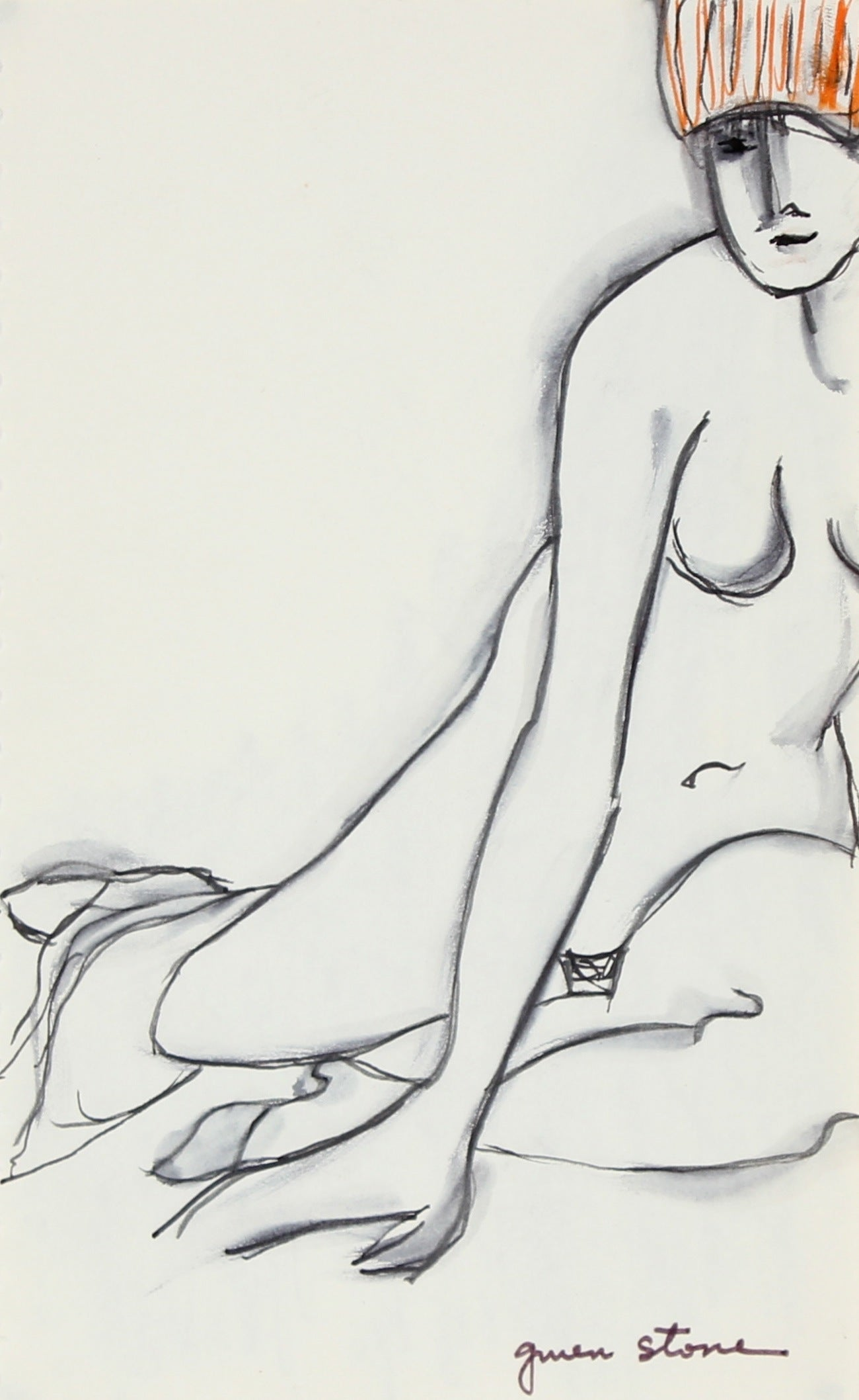 Reclining Nude<br>Late 20th Century Ink<br><br>#84632