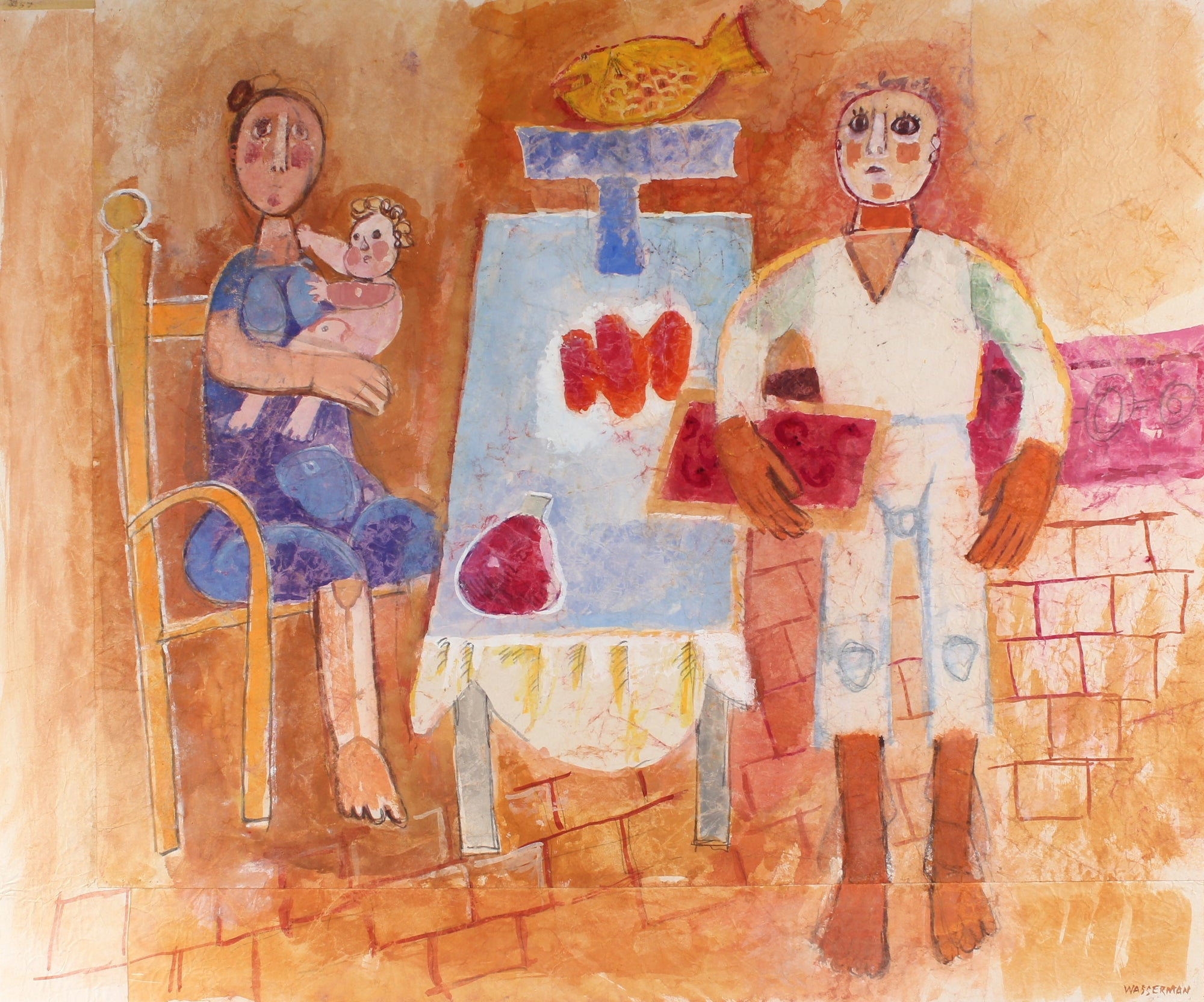 Dinner Scene with Family & Child<br>Mid-Late 20th Century Gouache<br><br>#88212