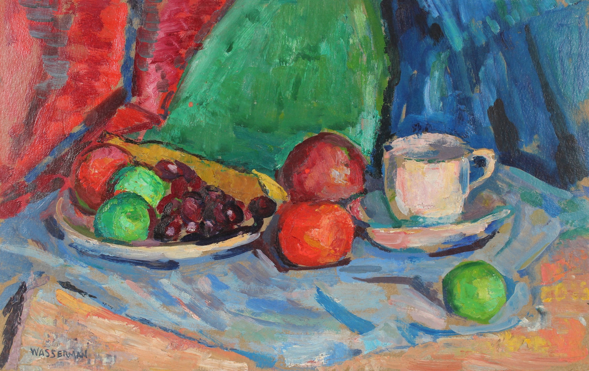 Modernist Still Life Scene <br>Late 20th Century Oil <br><br>#89005