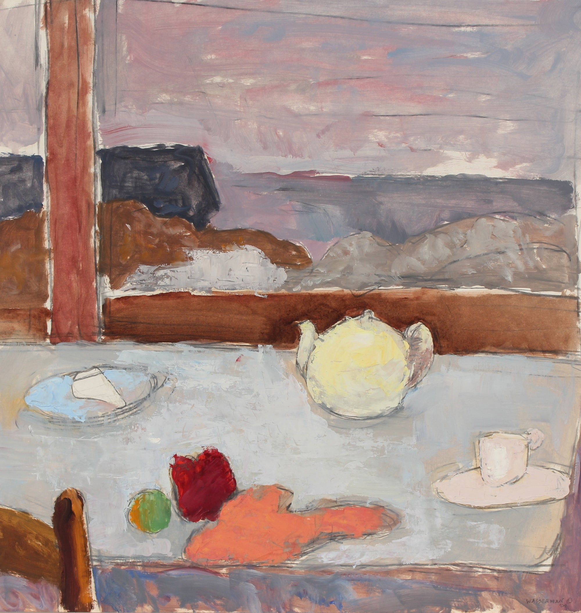 Window Sill & Tea Pot Still Life<br>1970s Oil on Paper<br><br>#89538