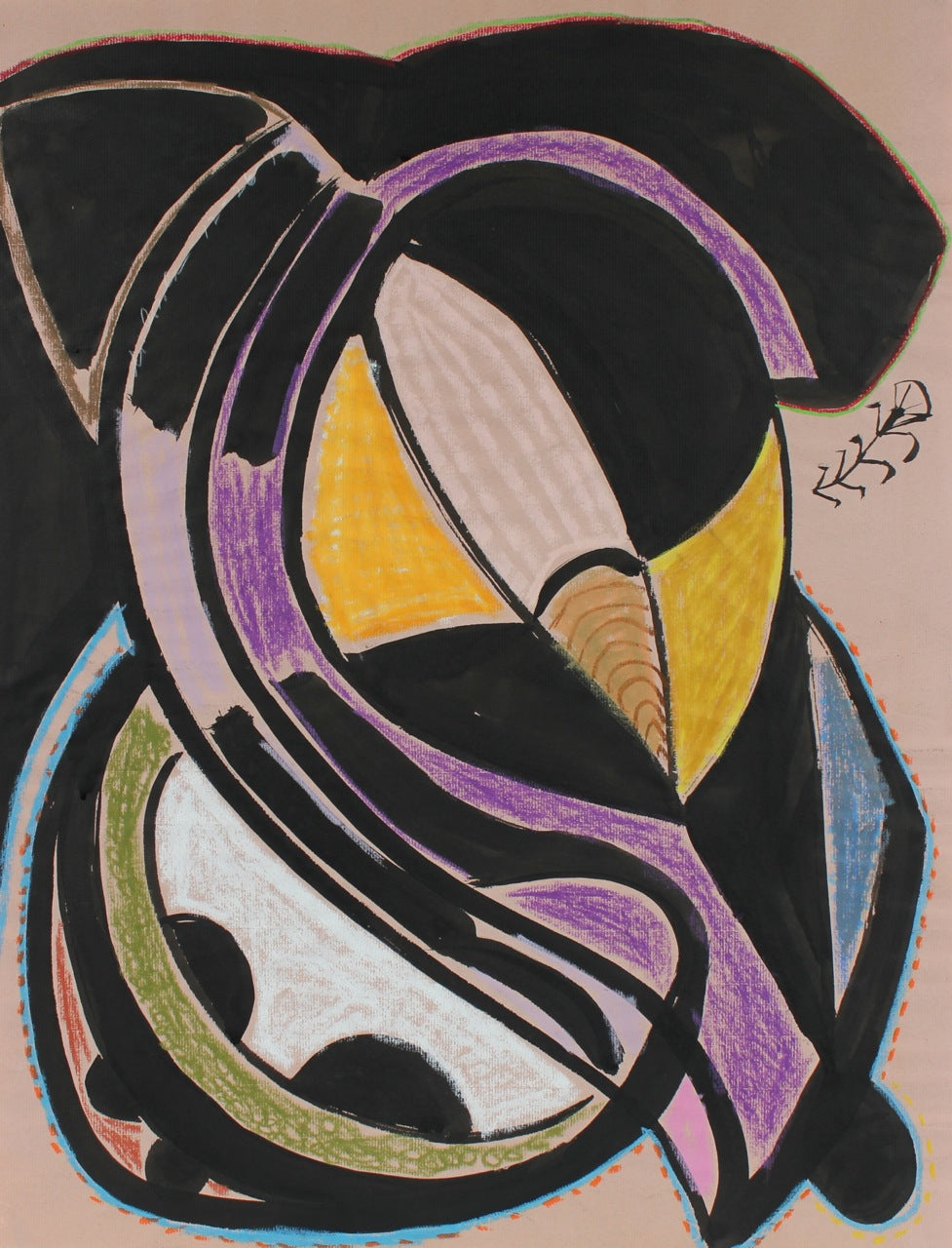 Bold Organic Abstract<br>1972 Oil Pastel, Ink & Graphite<br><br>#89563