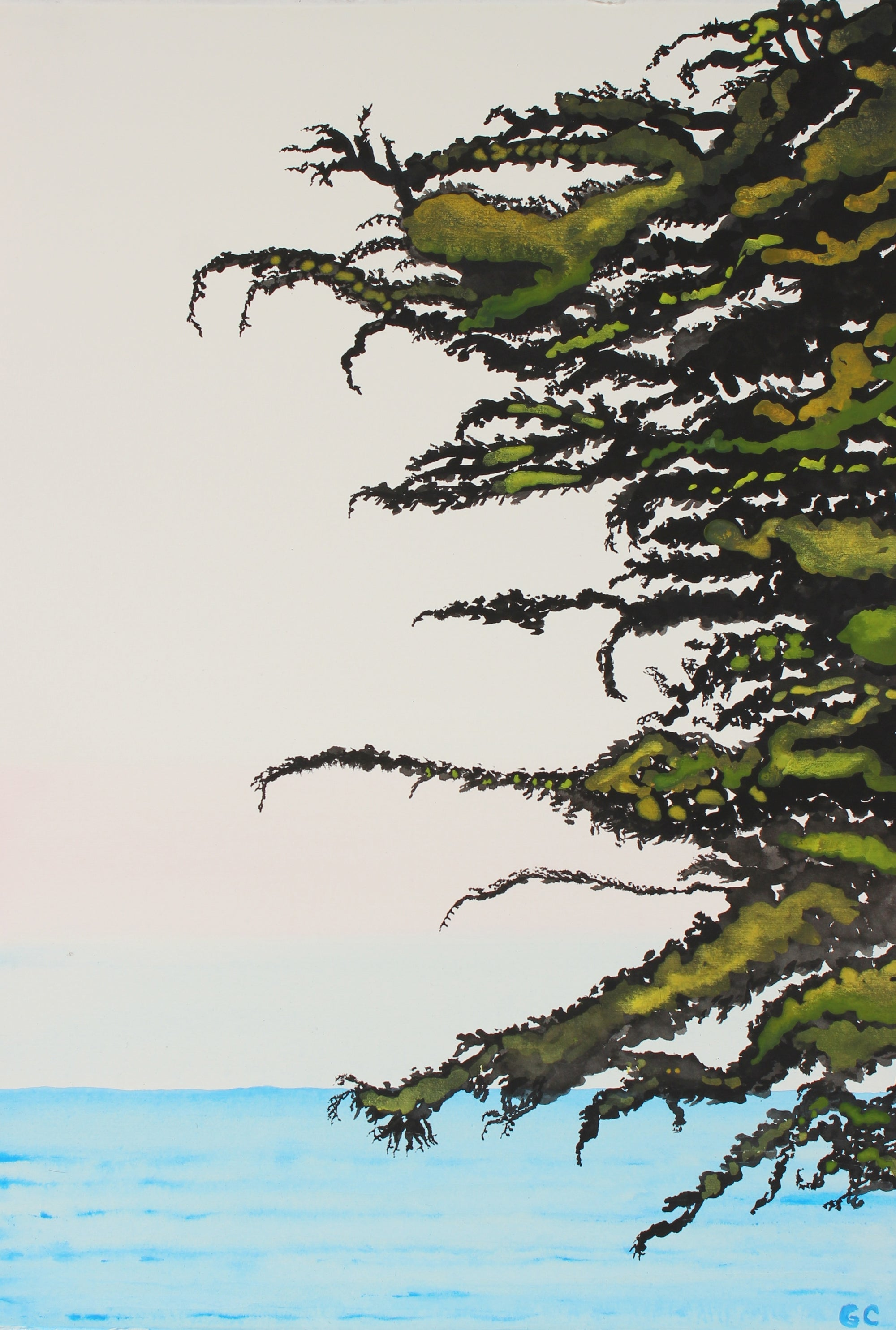 <i>Pacific Cypress Sunrise</i><br>2016 India Ink, Watercolor & Gouache<br><br>#90462