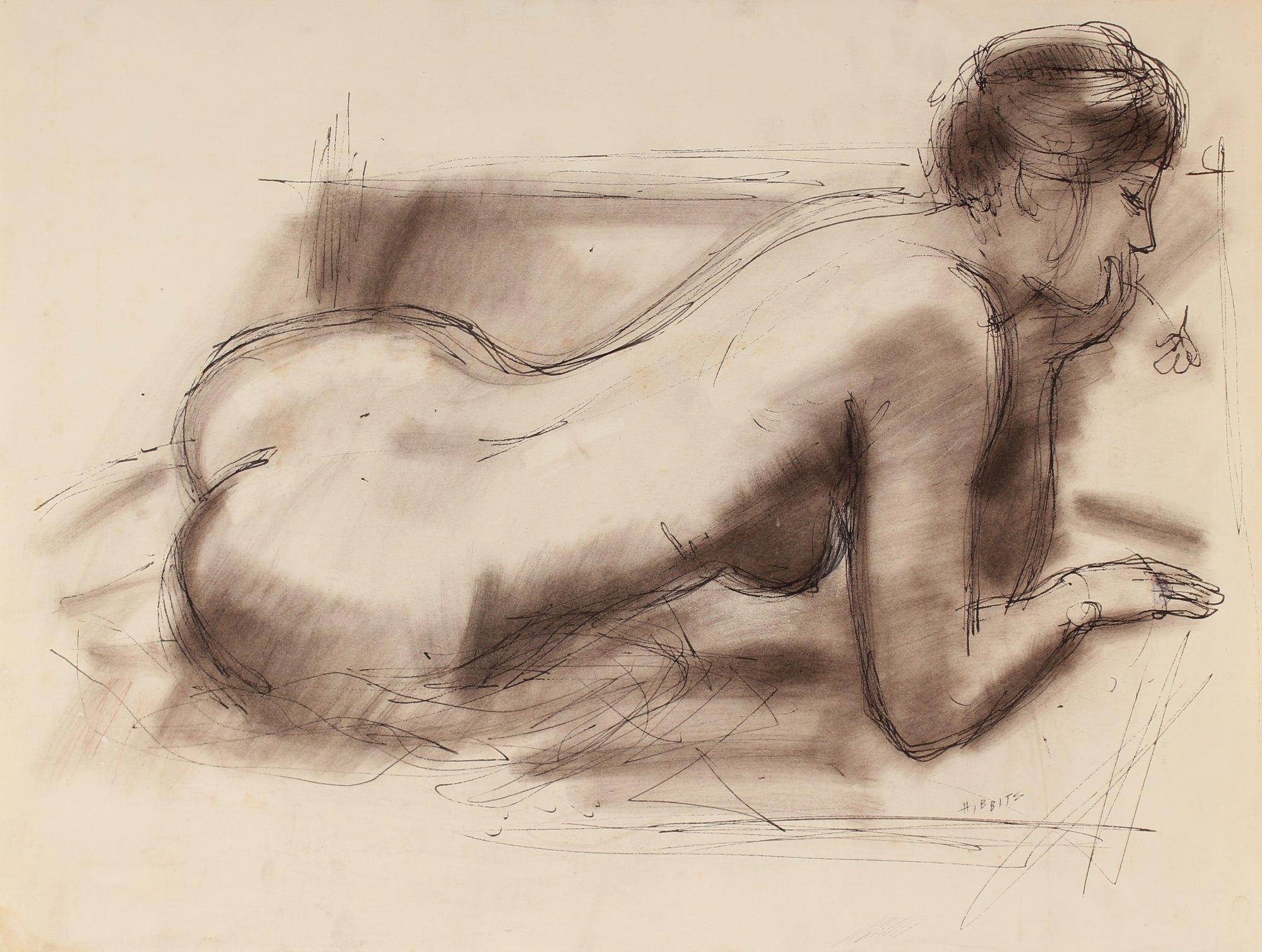 Coy Reclining Female Nude<br>Early-Mid Century Charcoal & Ink<br><br>#90752