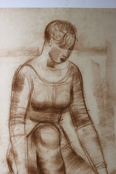 Sepia Seated Woman<br>Early-Mid Century Pastel<br><br>#90753