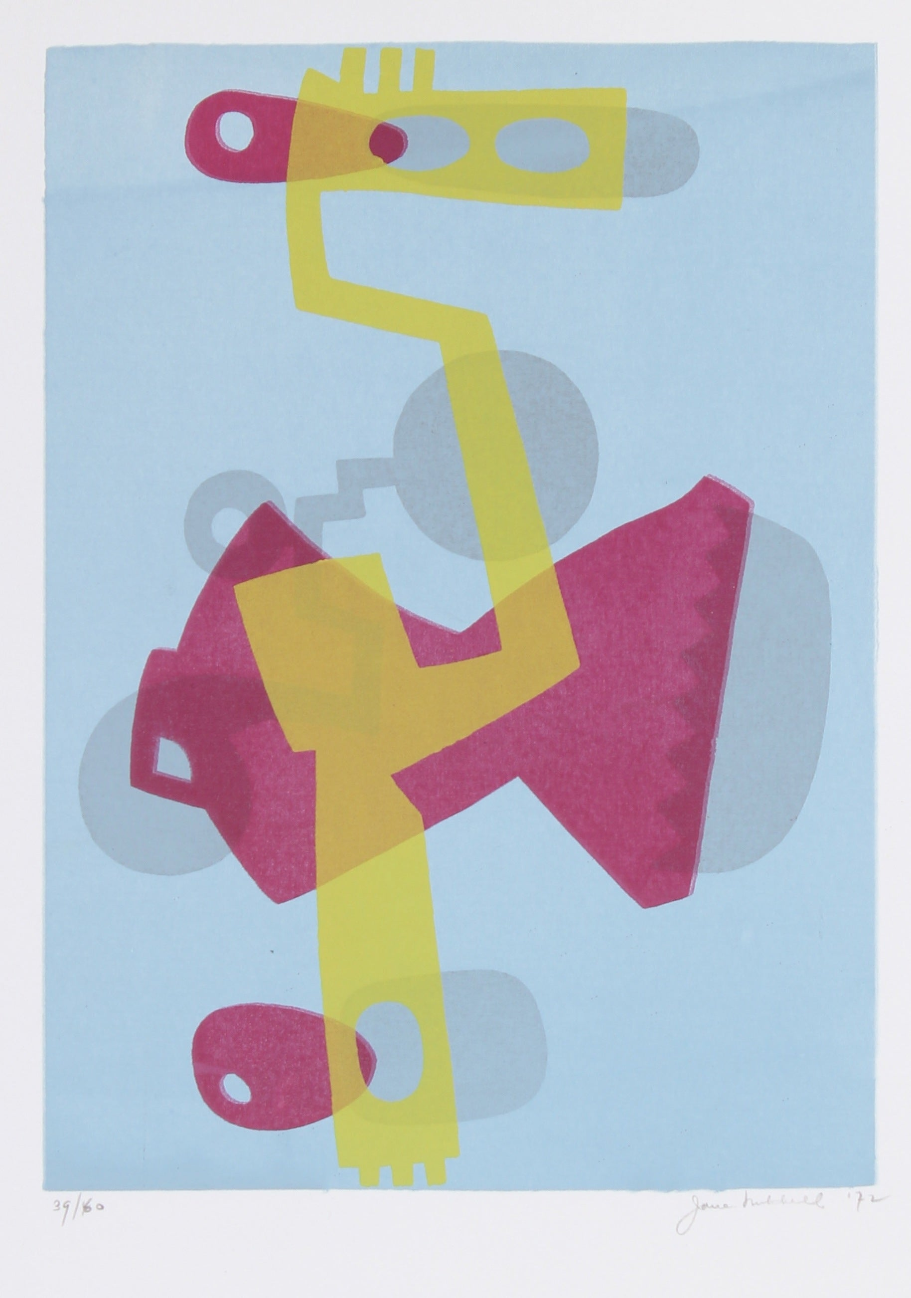 Complementary Pink & Yellow Mechanical Abstract <br>1972 Serigraph <br><br>#91504