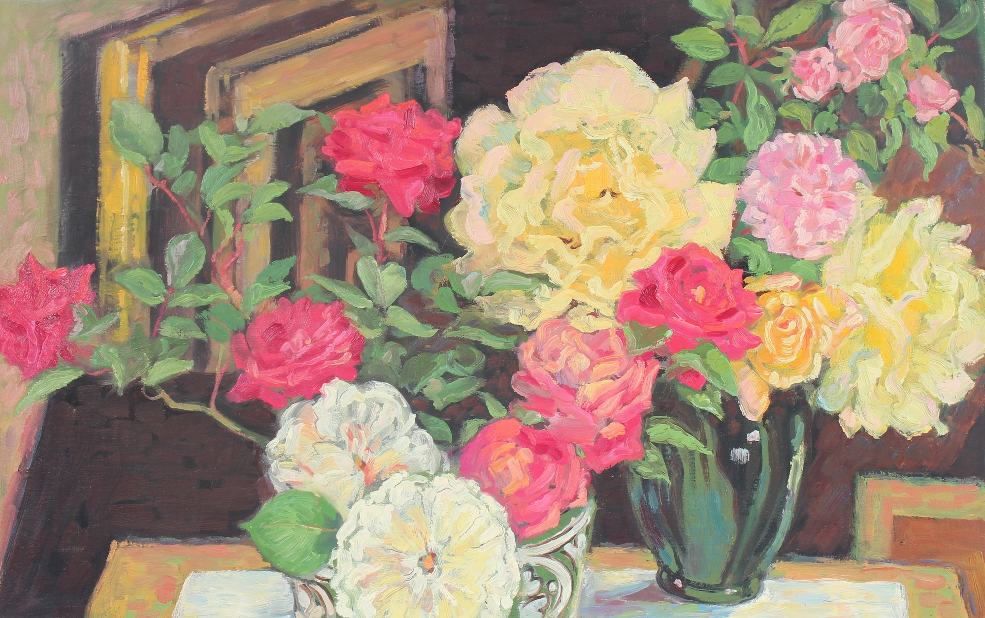 Color Still Life with Roses<br>20th Century Oil<br><br>#93177