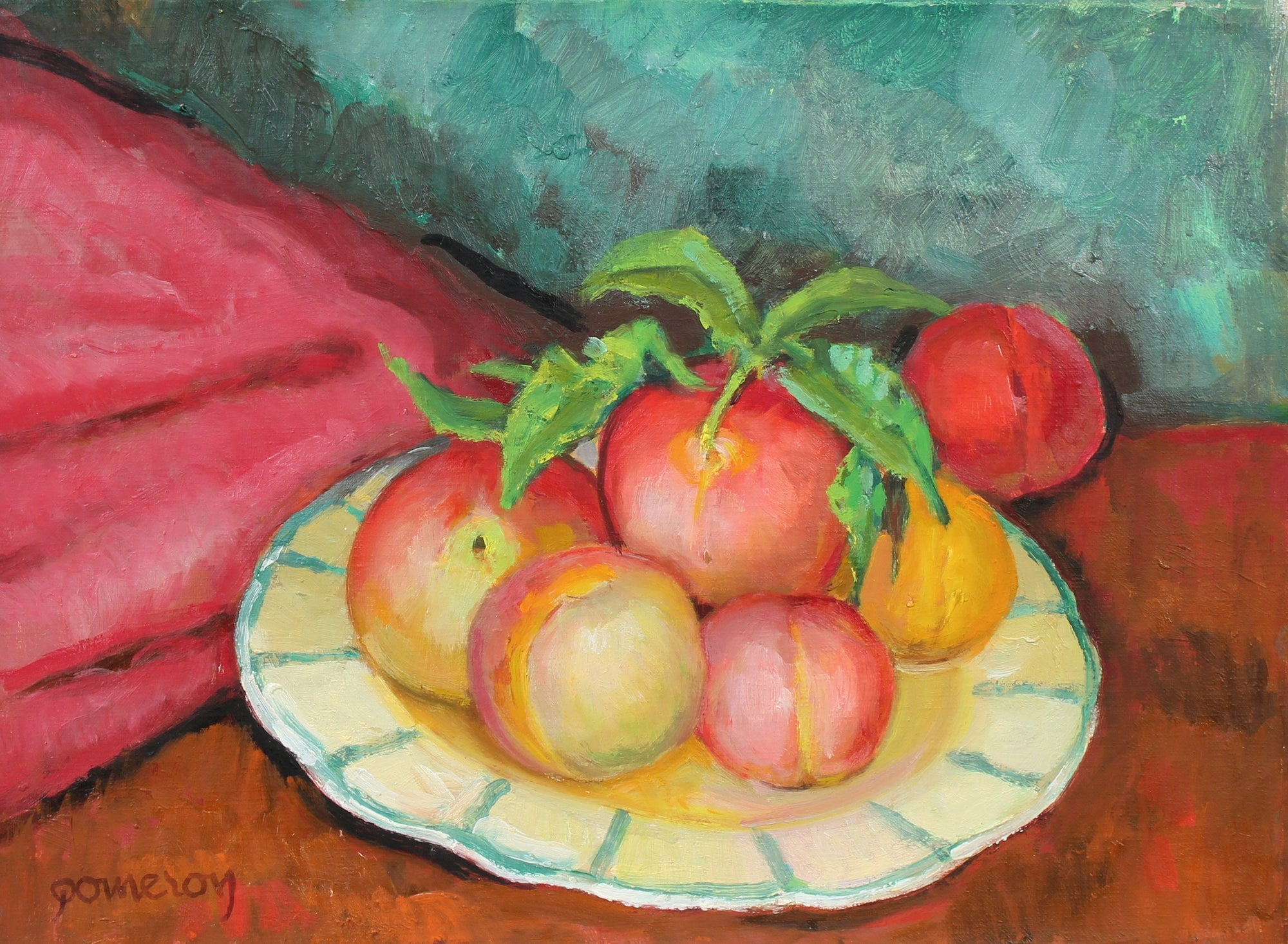 Oil Still Life with Peaches<br>Mid-Late 20th Century<br><br>#93508