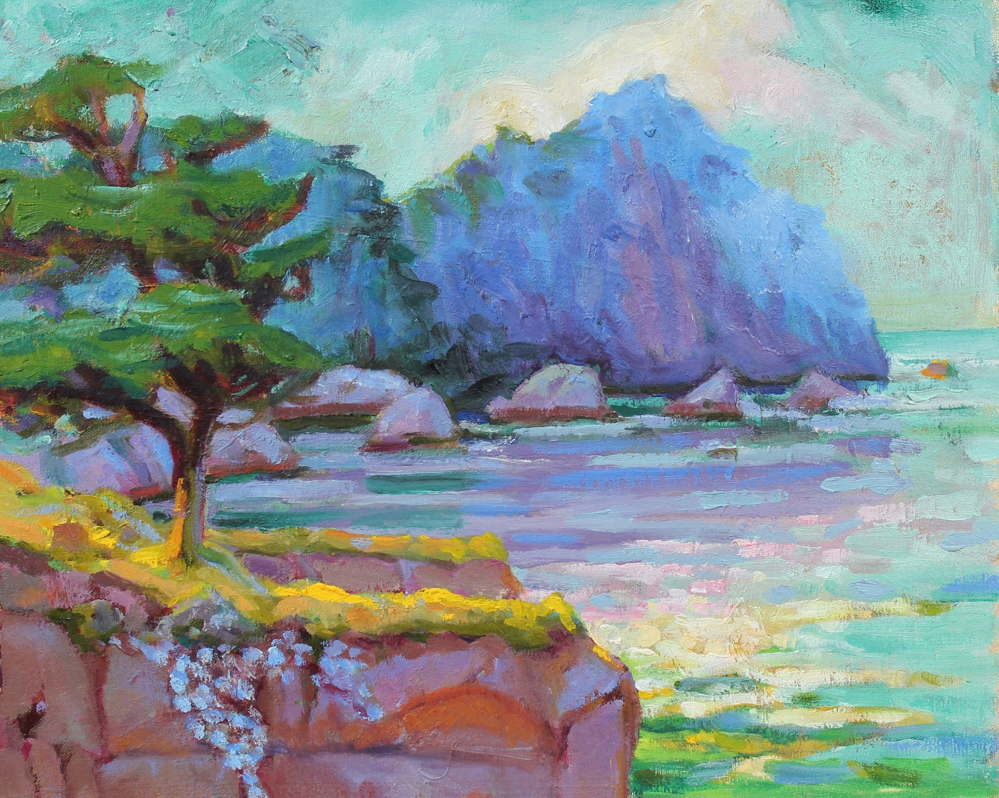 <I>Pt. Lobos in Purples </I> <br>Mid-Late 20th Century Oil<br><br>#93512
