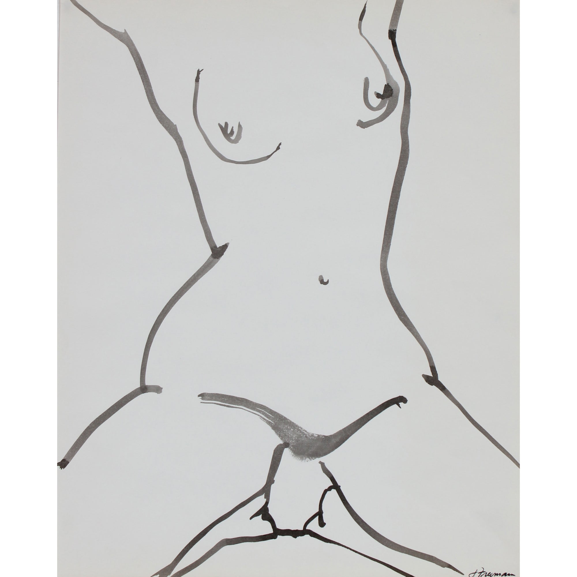 Monochromatic Figure Drawing in Ink, 1976<br><br>#94977