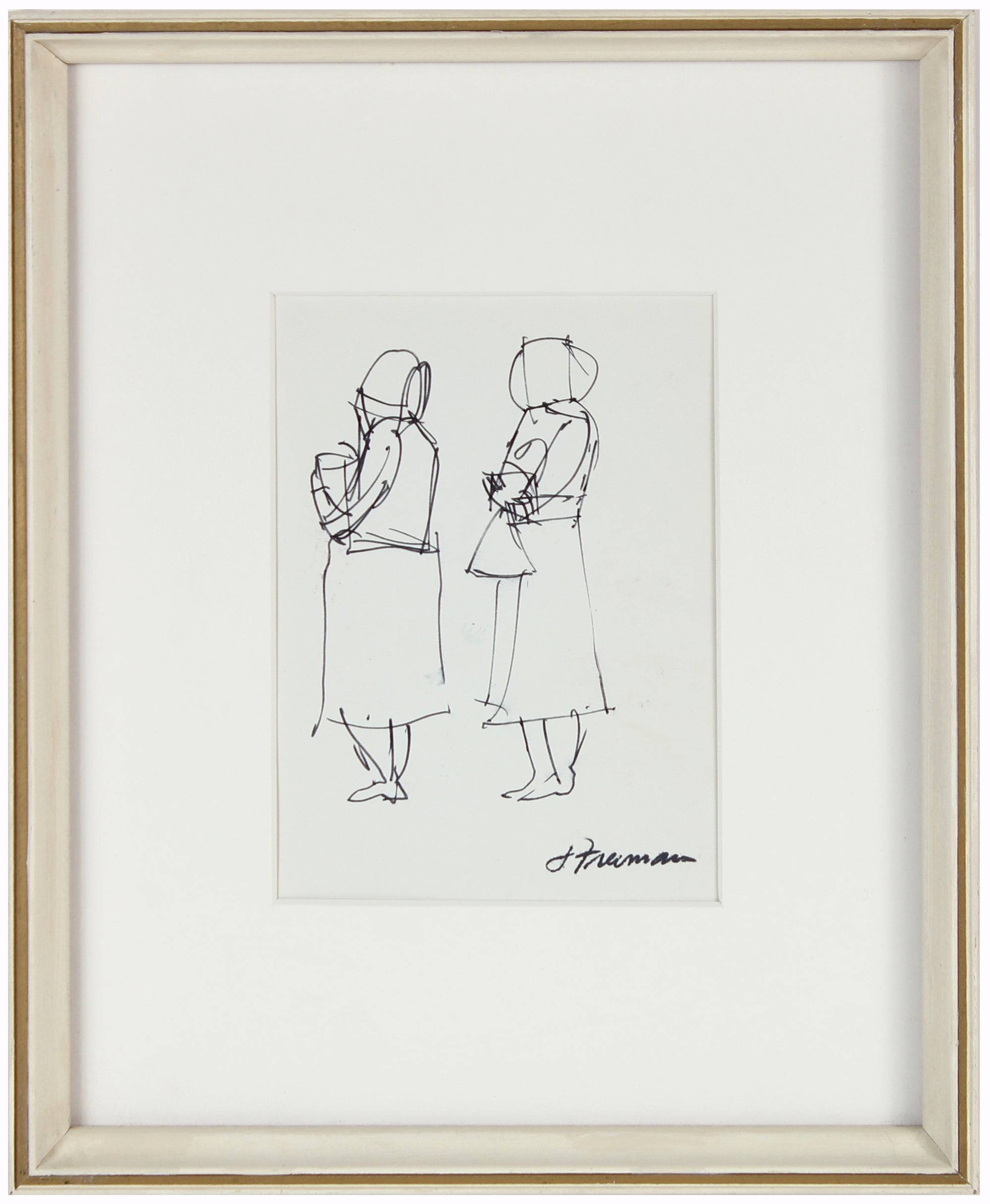 Women Waiting<br>1960-70s Ink on Paper<br><br>#94996