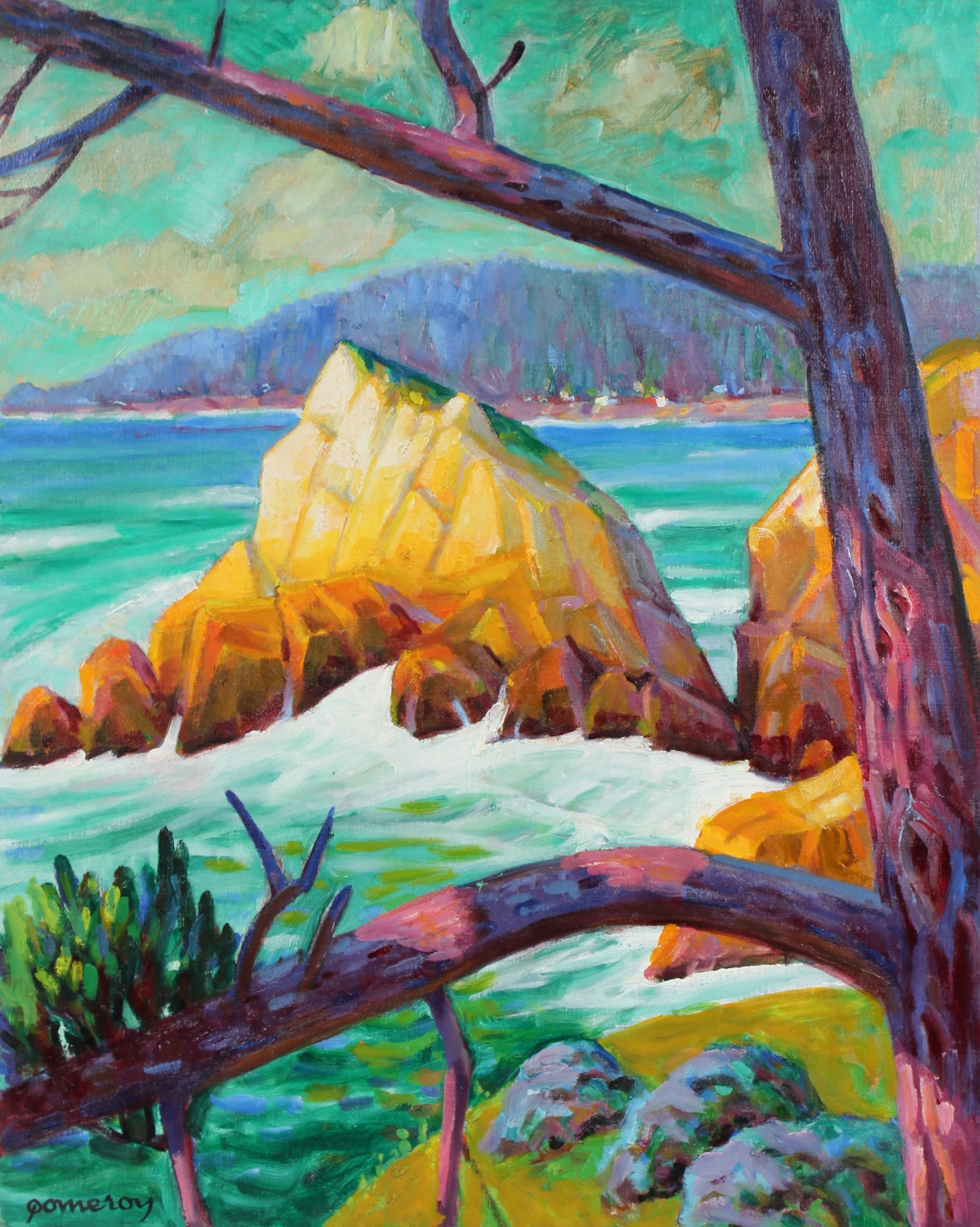 Bright Seascape <br>Mid-Late 20th Century Oil<br><br>#95514