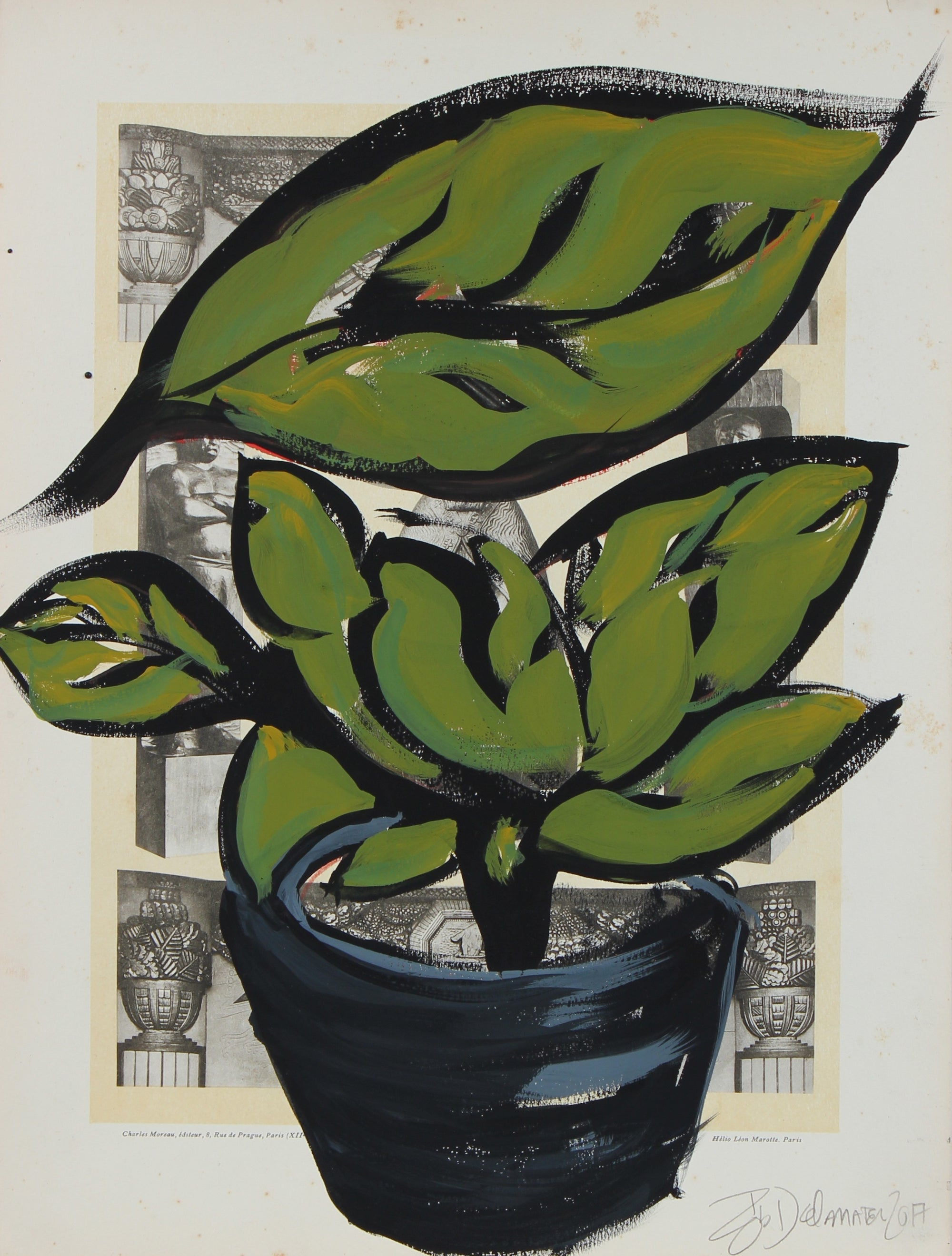 <i>Plant and Pot I</i><br>2017 Gouache on Antique Print<br><br>#95697