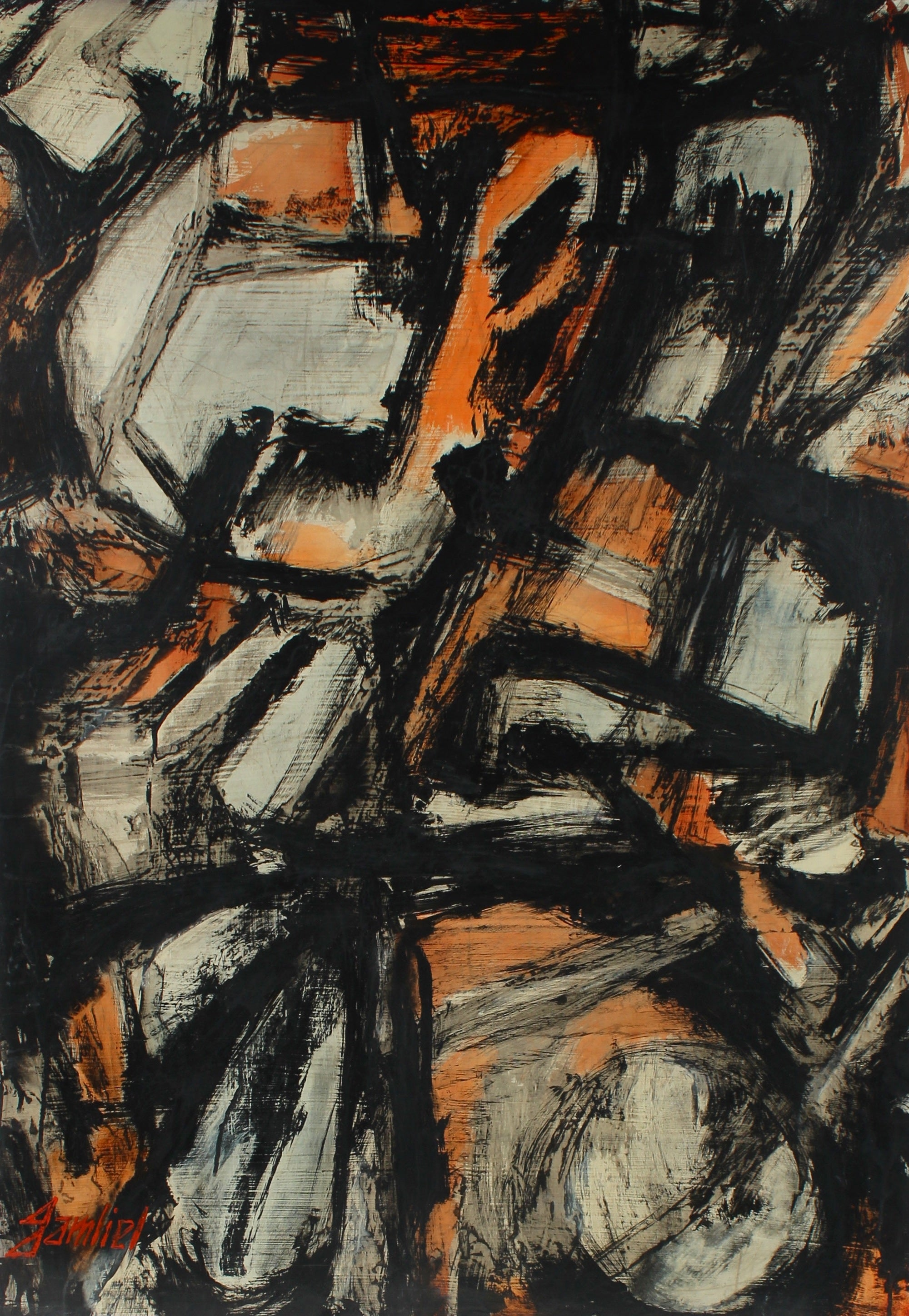Orange & Black Abstract Expressionist Paint on Masonite<br><br>#95840