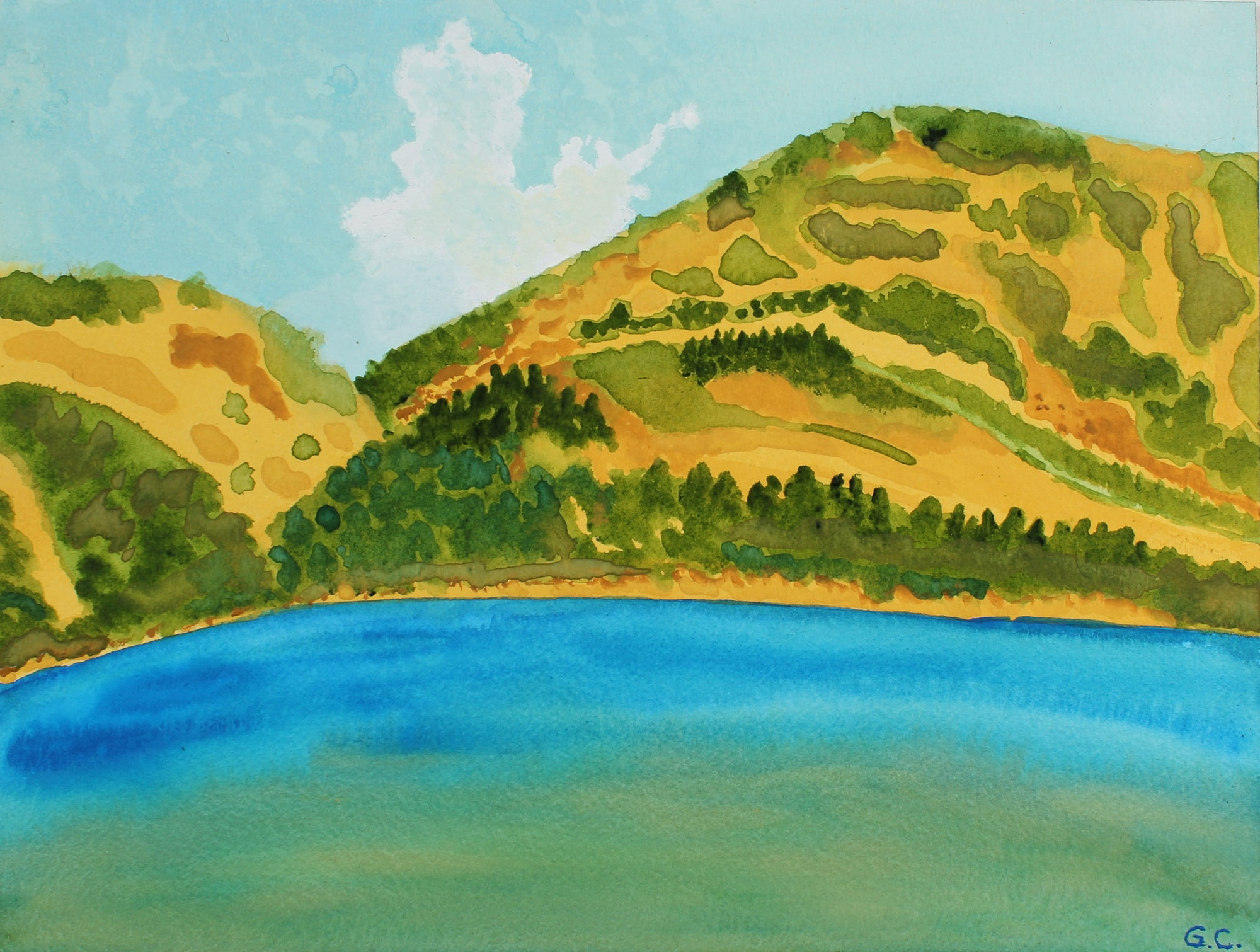 <i>California Summer Lake</i><br>2017 Watercolor & Gouache<br><br>#96221